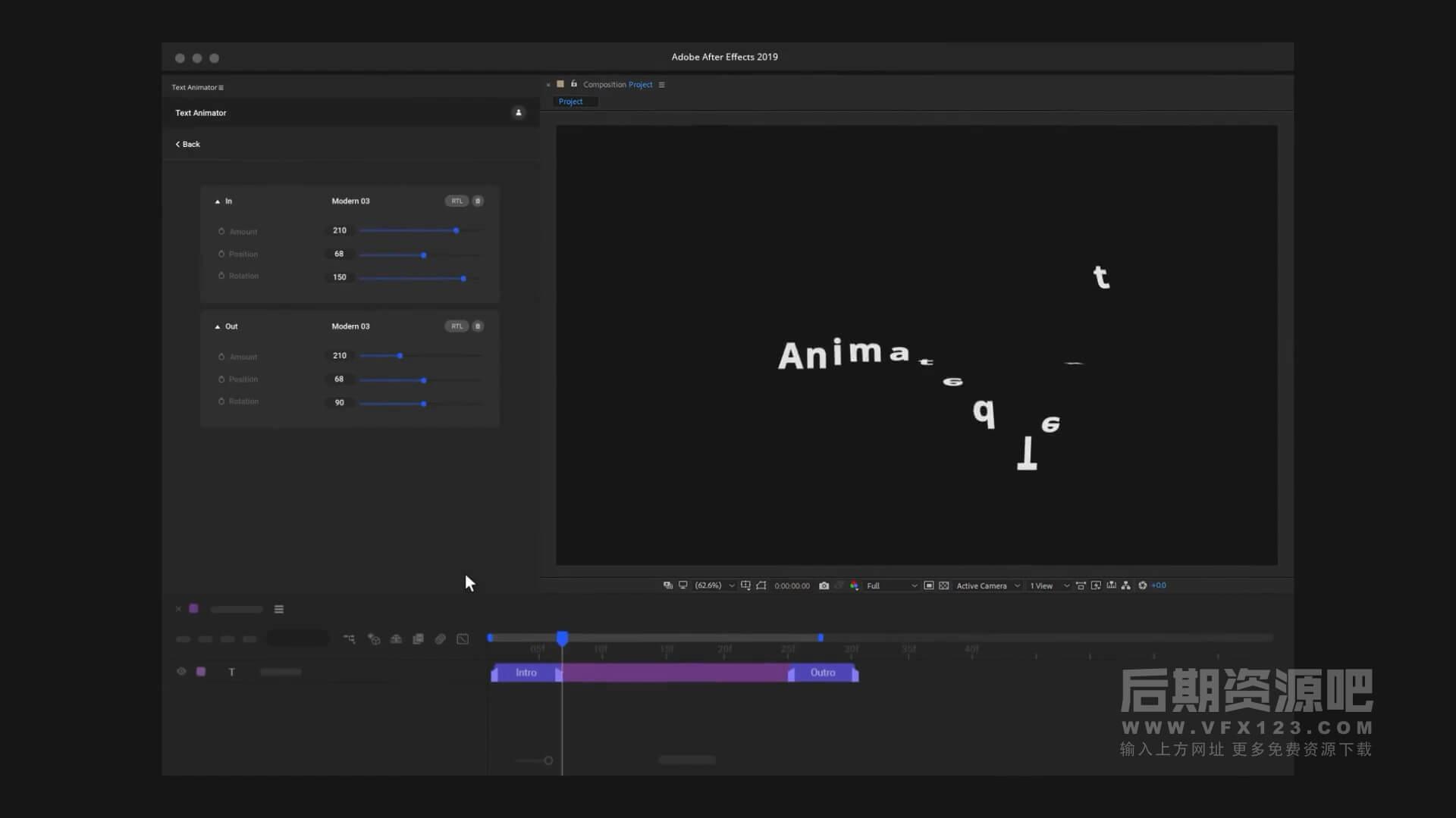 AE脚本 1200组缓入缓出文字动画预设 一键快速给文字层添加动作
