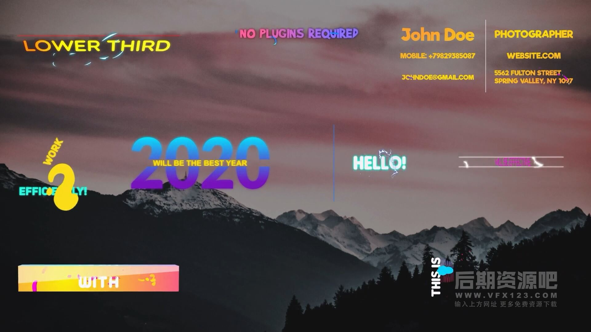 Fcpx标题插件 动感卡通彩色渐变文本动画模板 Gradient Titles