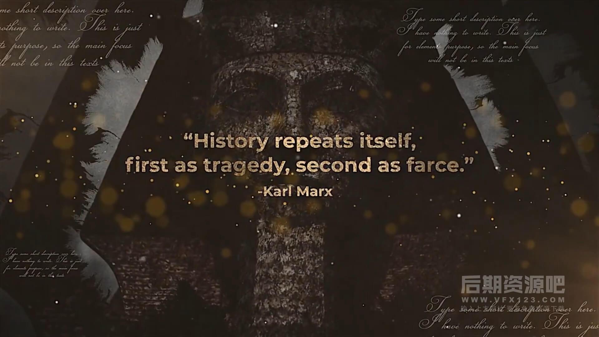 fcpx主题模板 历史记忆回忆录复古风格片头开场 History Quotes