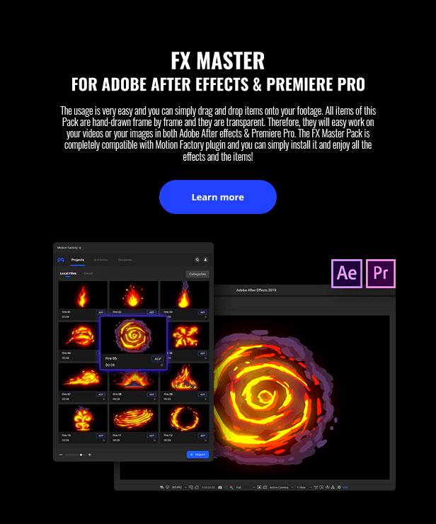 AE+PR脚本 850组卡通手绘火焰能量电流爆炸等MG动画 FX Master