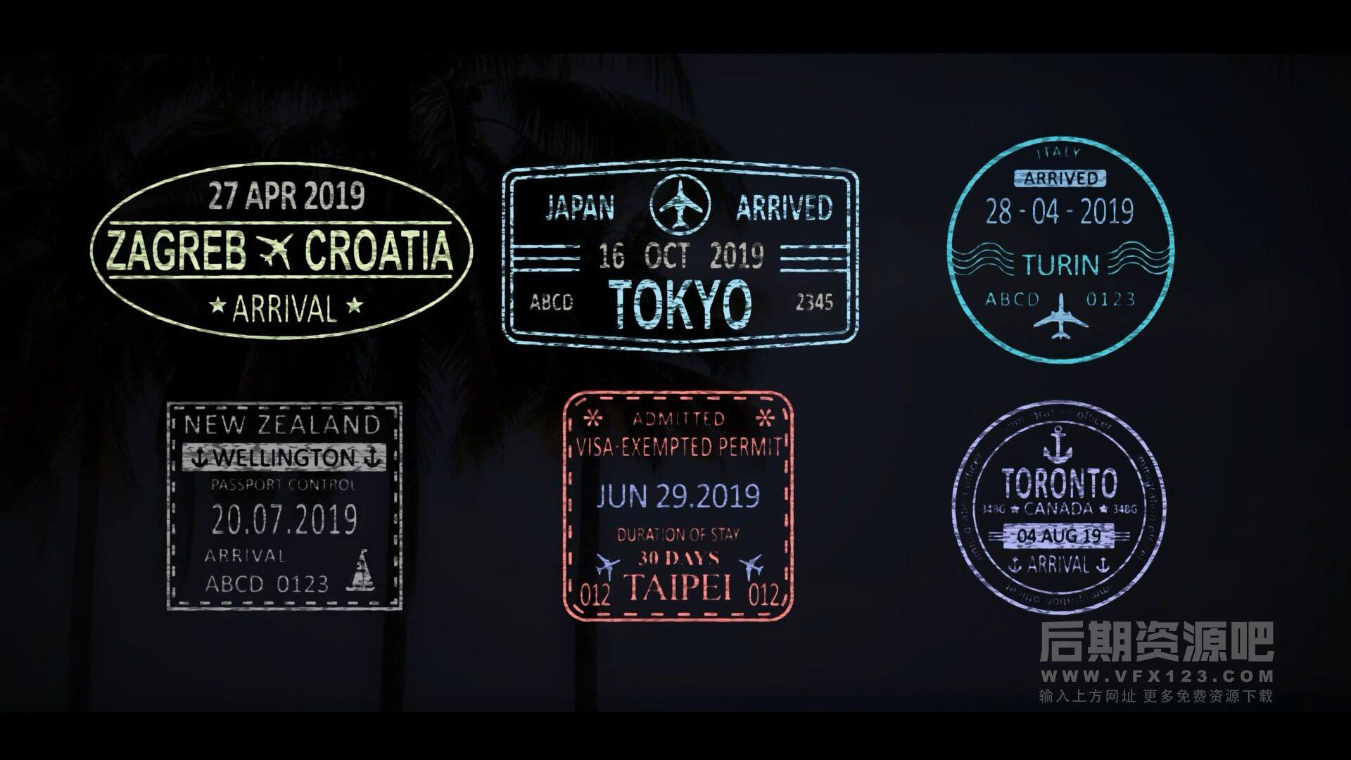 AE模板 50组旅行邮票印章邮戳动画 旅拍影片常备 Travel Stamps