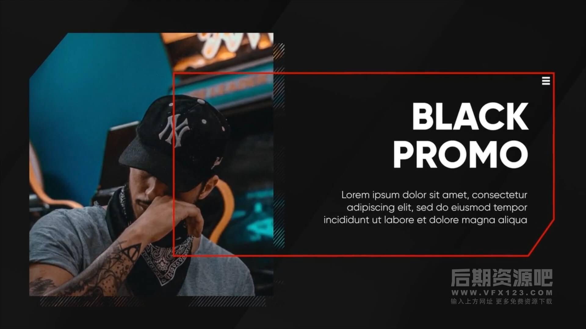 Fcpx主题模板 黑白单色调企业商务类图文展示模板 Corporate Black Presentation