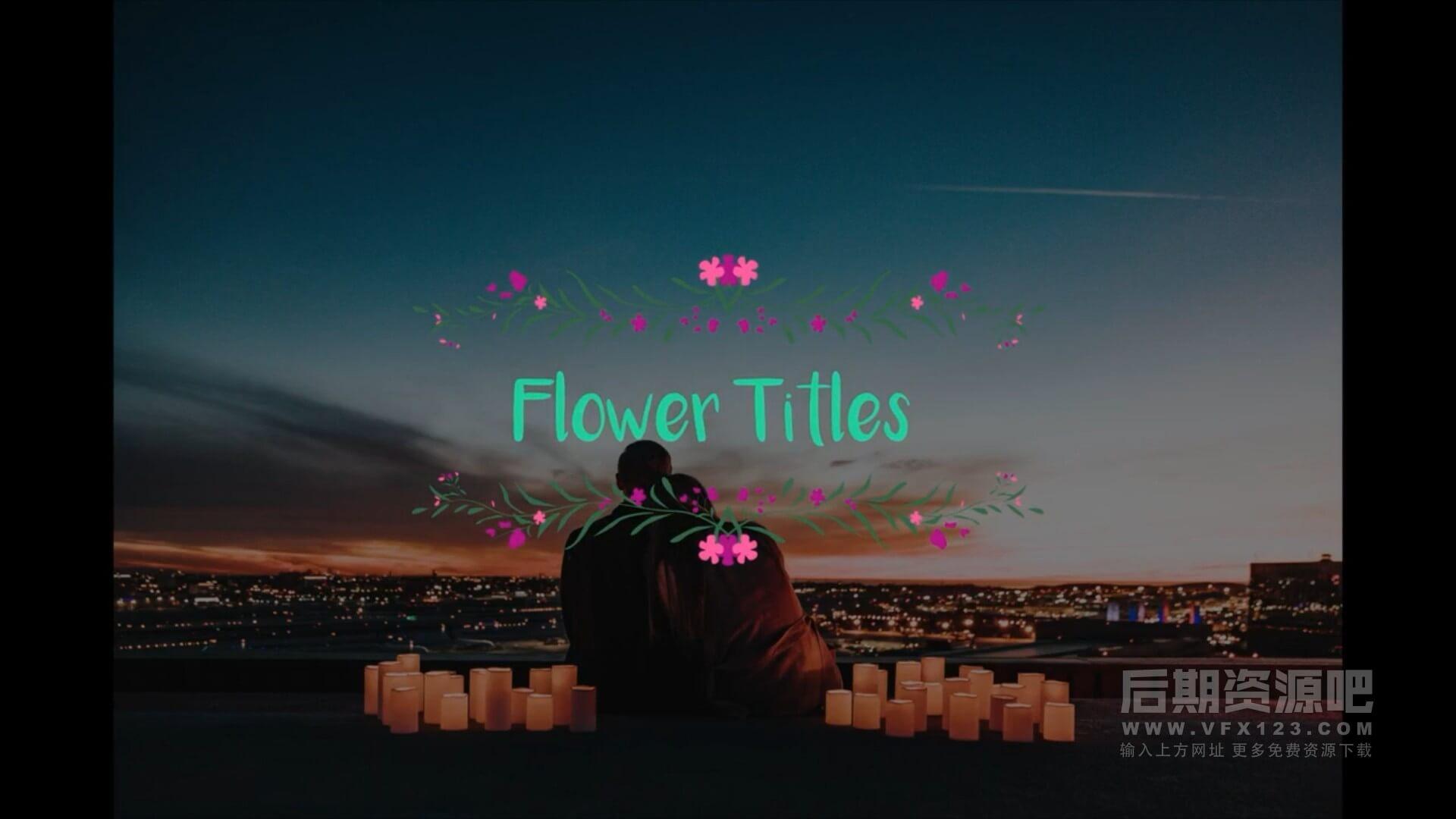 Fcpx标题插件 浪漫婚礼情人节花式字幕预设 Flower Titles