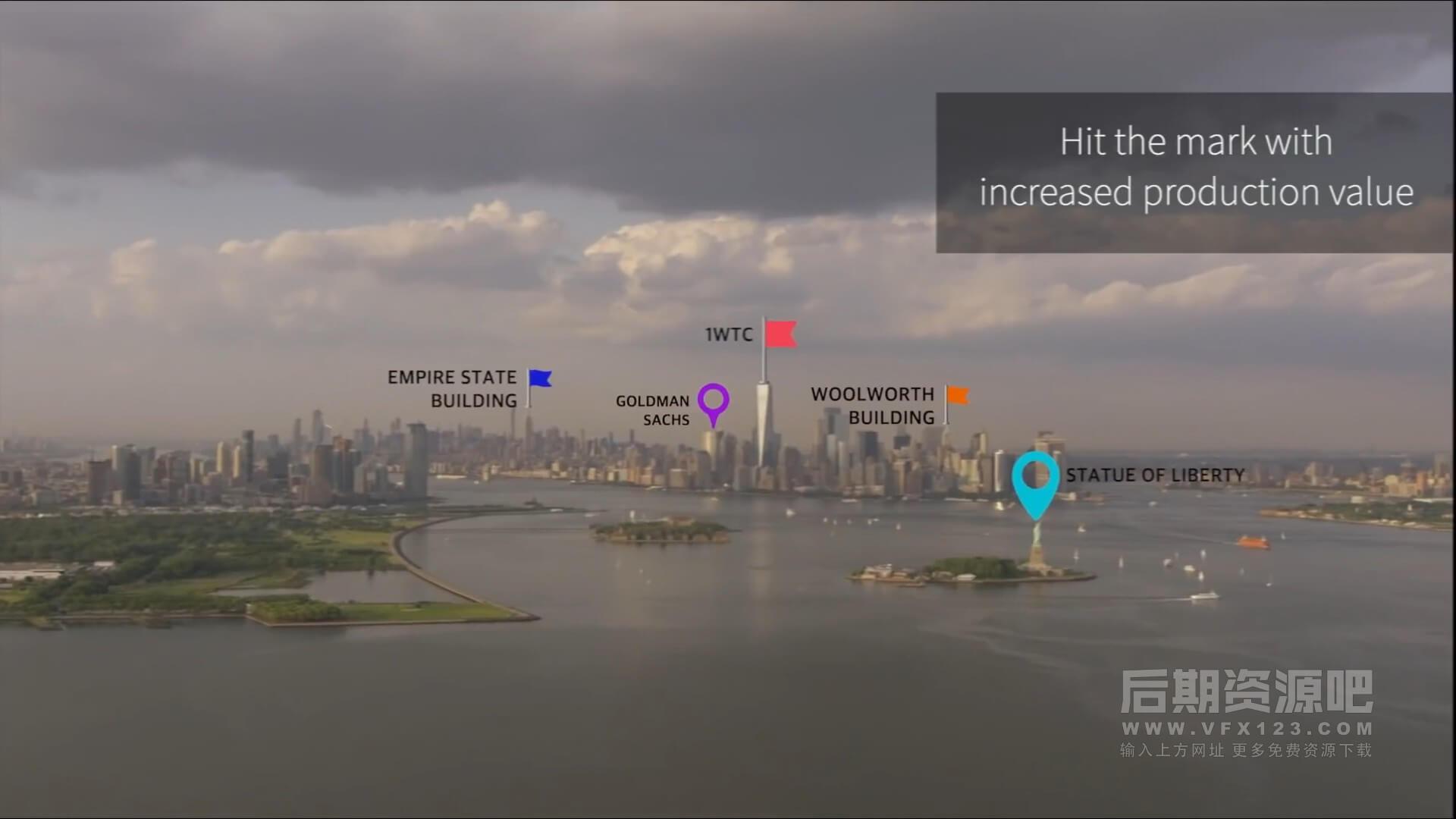 fcpx插件 105个自动跟踪标识地点标注位置气泡标题动画预设 Pointer Pop