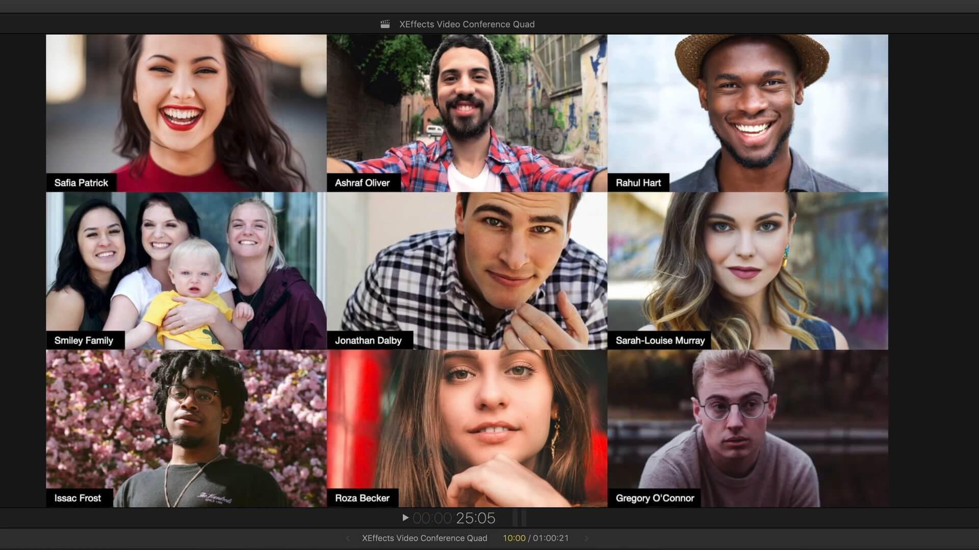 fcpx插件 模拟在线视频会议多窗口连线画面效果 VIDEO CONFERENCE