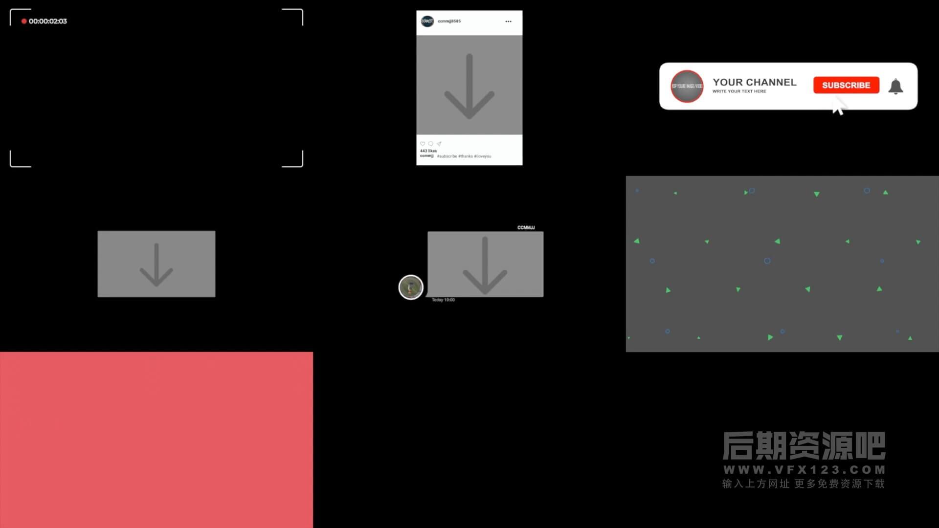 fcpx插件 倒计时计数器简约标题取景框等Vlog制作常用素材包