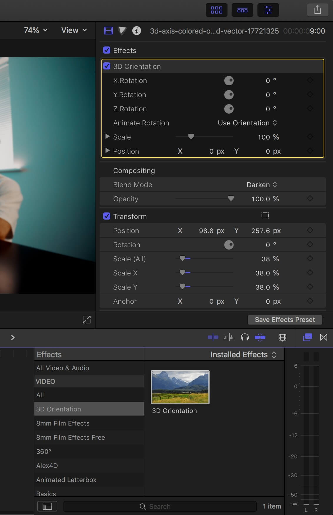 fcpx效果插件 平面图文视频转三维透视空间特效 3D Orientation Effect