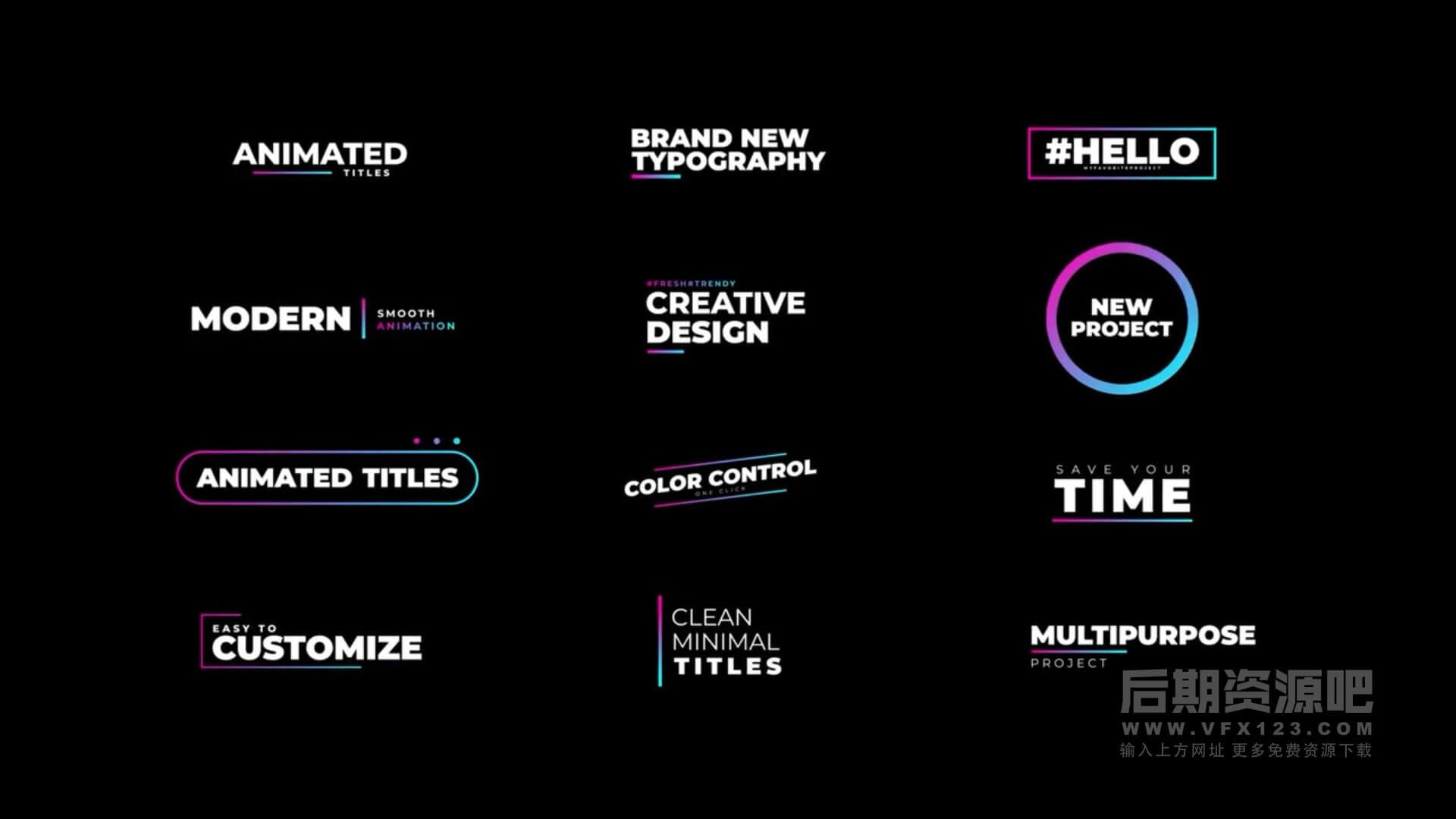 fcpx标题插件 12组现代流行彩色渐变标题预设 Modern Titles