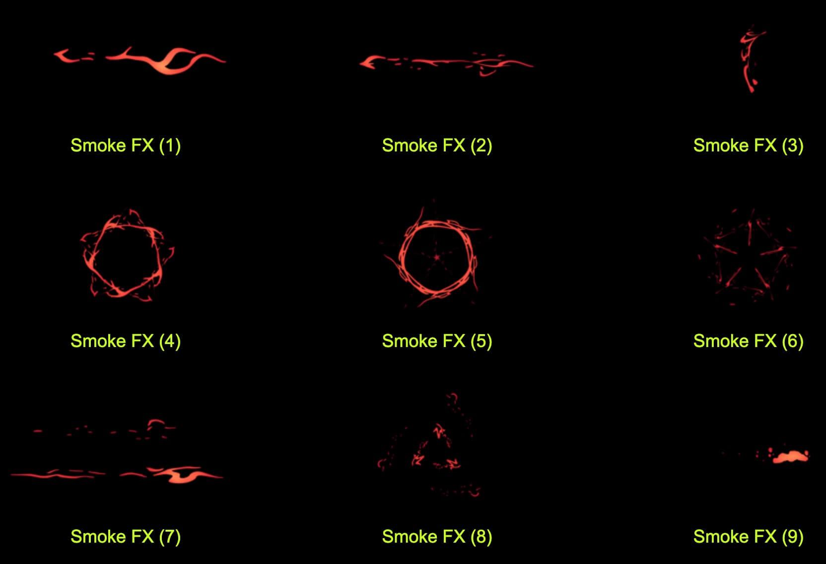 视频素材 1145个4K卡通特效元素能量闪电画笔形状烟雾液体 带通道 2D Cartoon FX