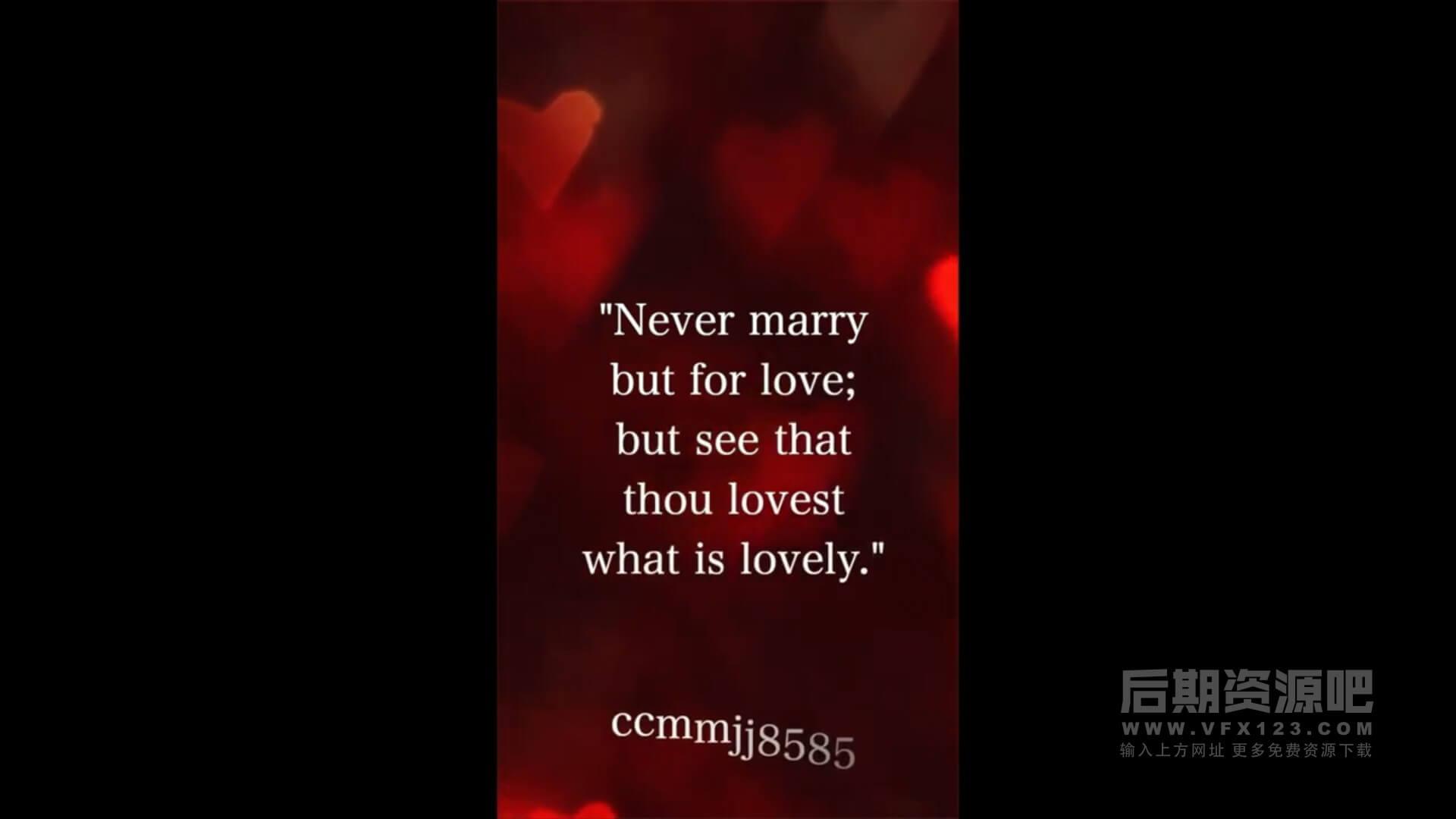 fcpx竖屏模板 婚礼爱情浪漫适用手机短视频 Love Story