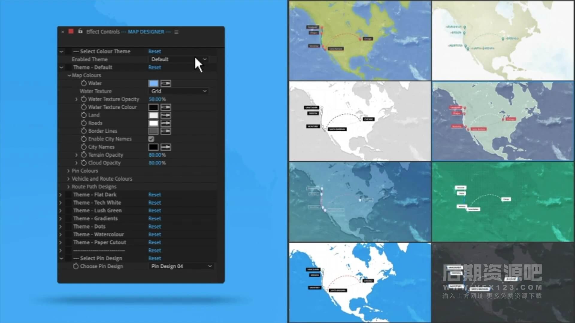 AE模板 地图路线生成工具 世界旅游地图动画制作 World Travel Maps