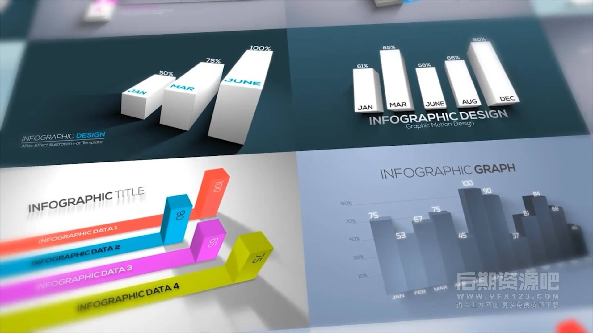 AE模板 12个炫酷现代3D数据信息图表动画 3D Infographics Set