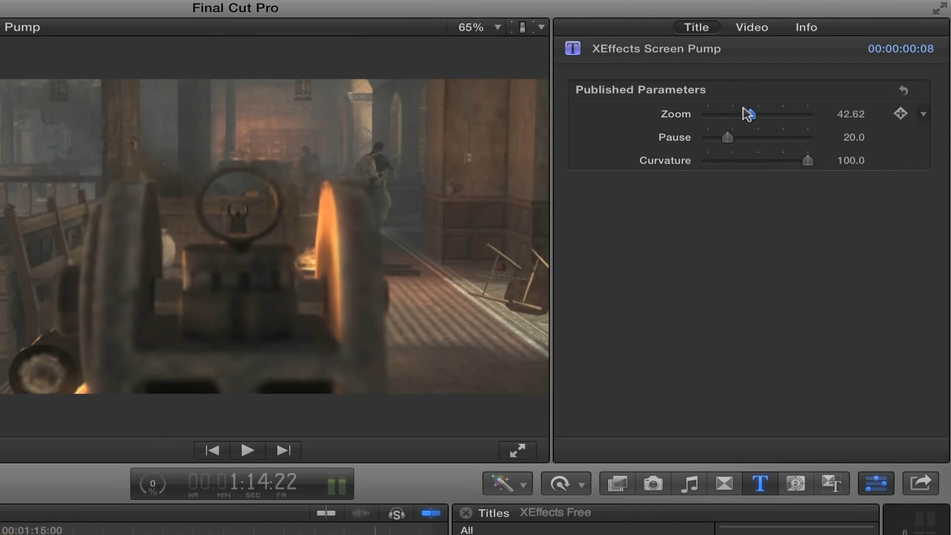 fcpx插件 快速镜头变焦放大缩小拉镜效果 Screen Pump