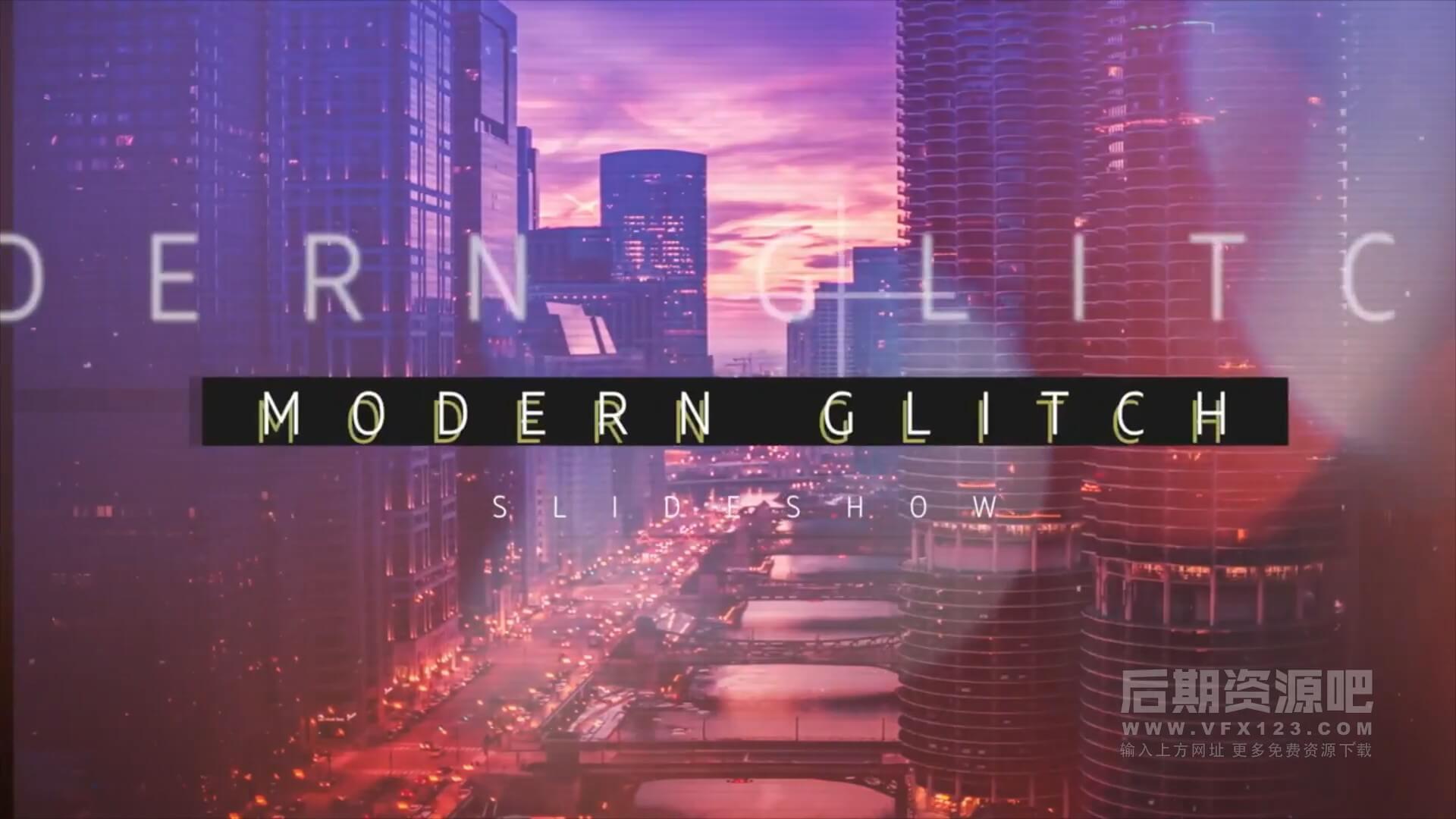 fcpx主题模板 现代炫酷复古故障毛刺特效风格片头 Modern Glitch Slideshow