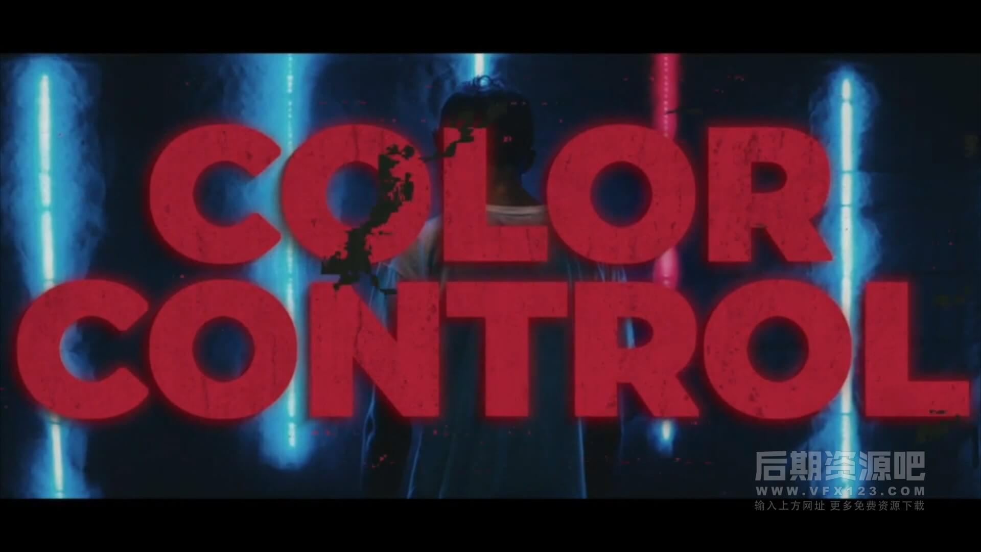 fcpx主题模板 80s复古干扰霓虹风格片头 Grunge Neon Promo