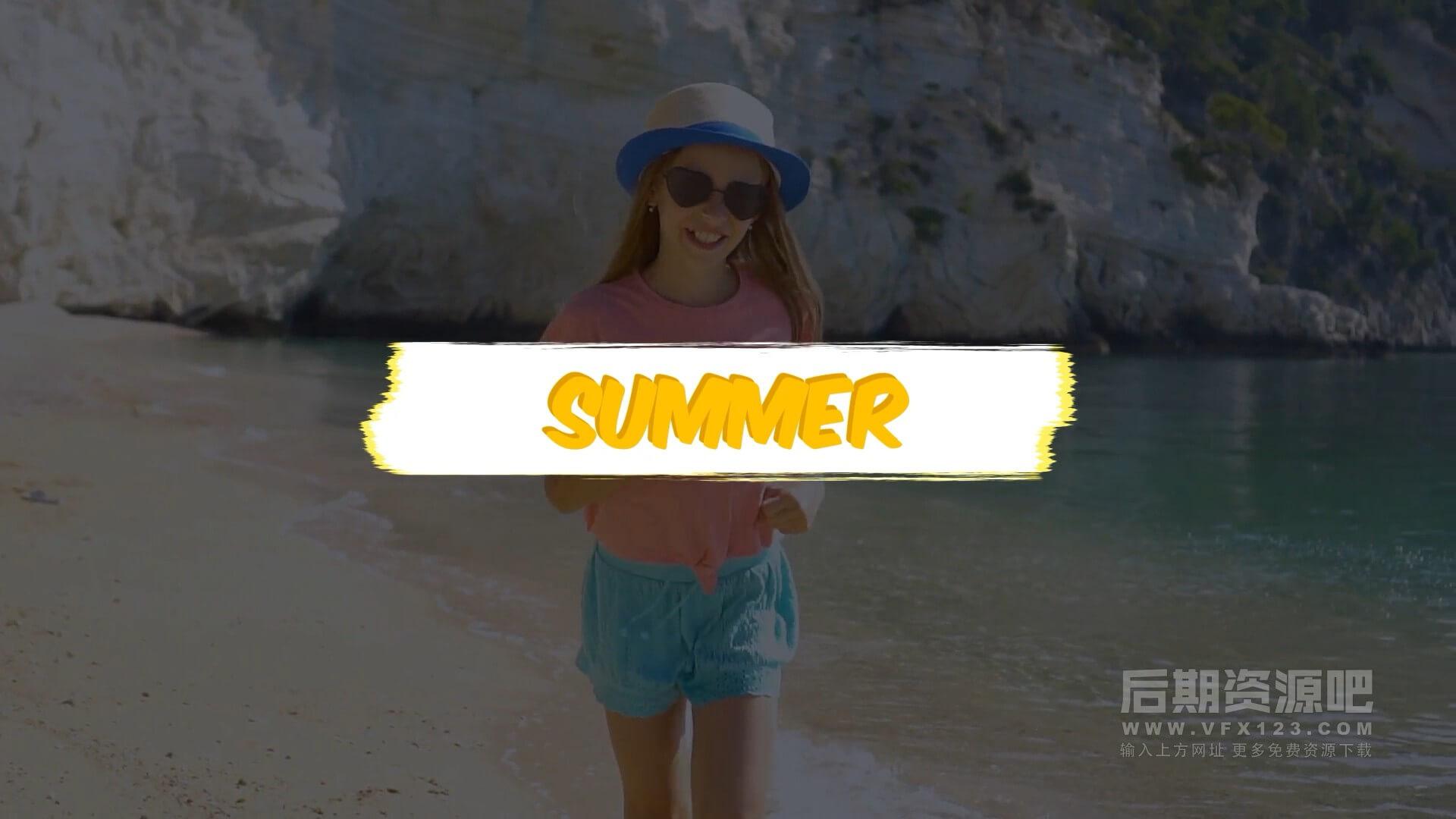 fcpx插件 卡通多彩夏季清爽标题模板 Colorful Summer Titles