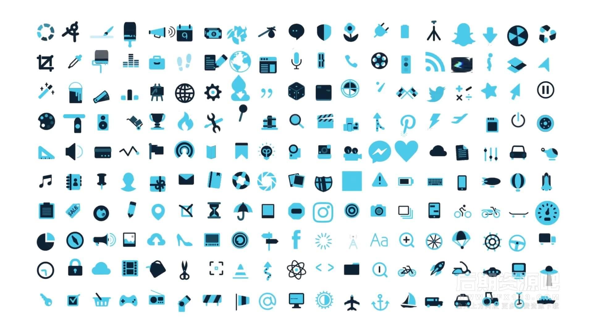 fcpx插件 193个符号图标动画元素包 可自动跟踪对象 Symbol Pop