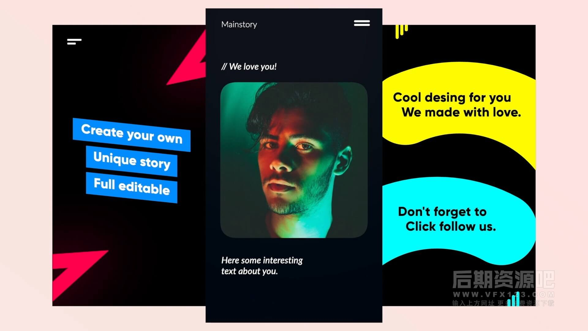 fcpx插件 9组时尚流行竖屏短视频模板 Insta Stories
