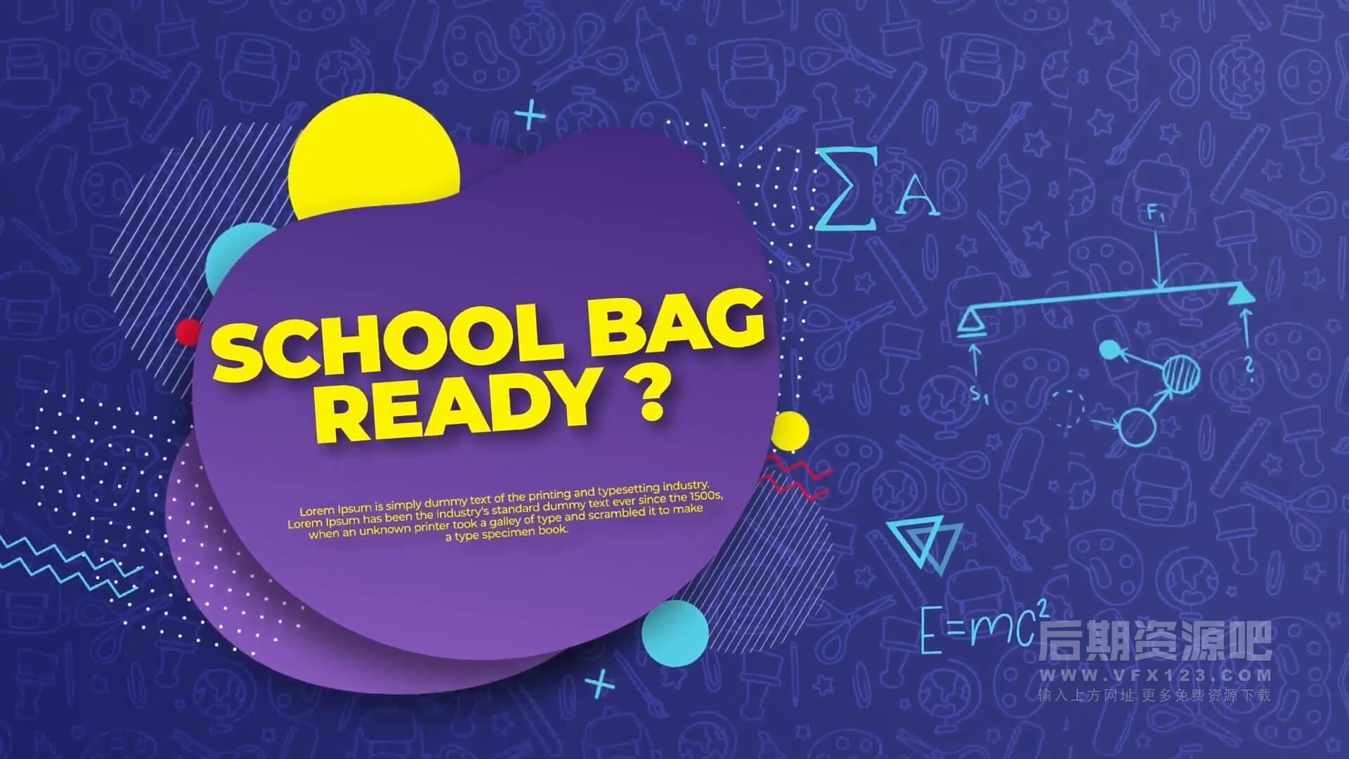 AE模板 返校宣传片片头模板 Back to School Intro Opener