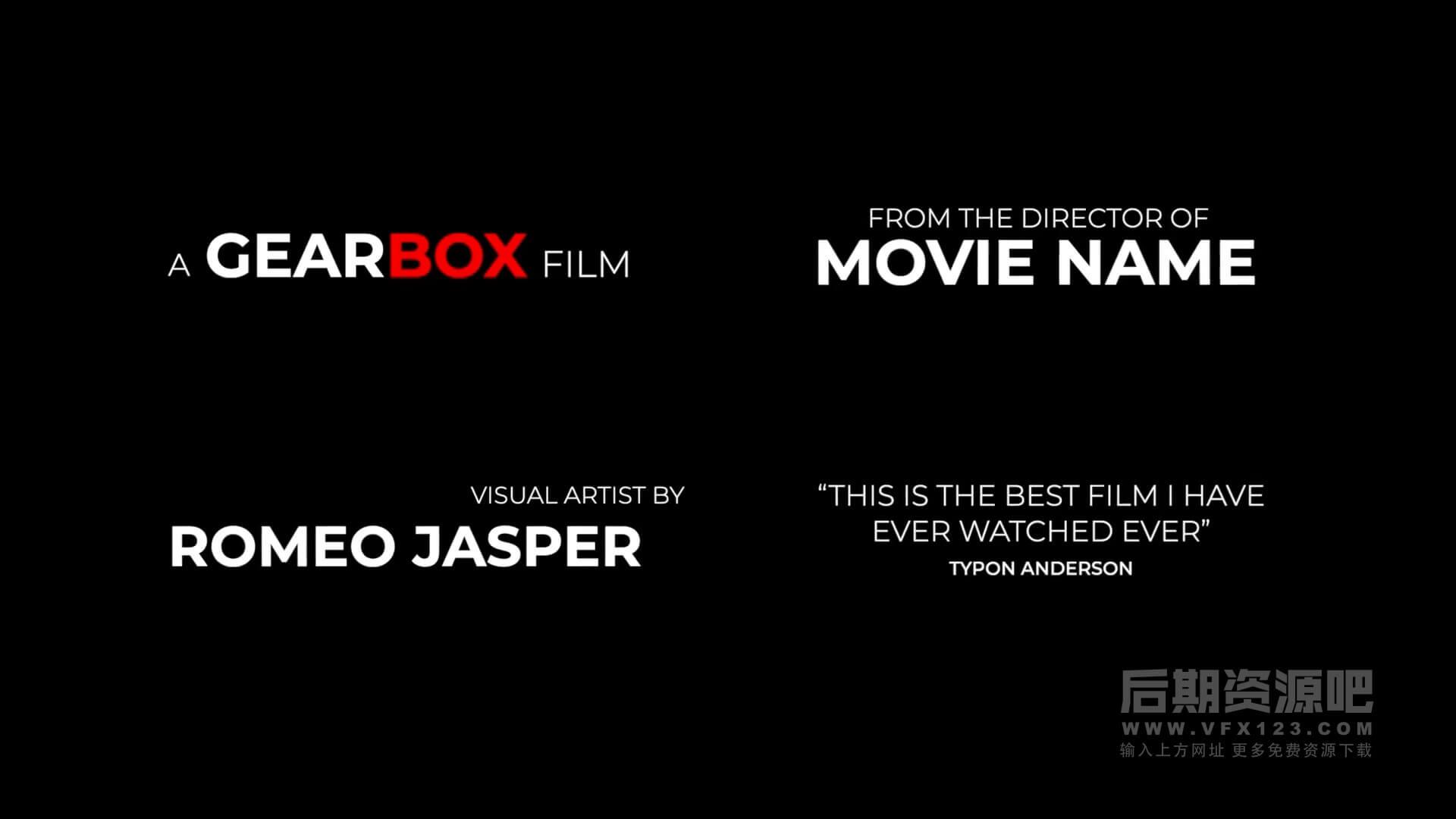 fcpx插件 35组4K电影标题演职人员字幕模板 Film Credits Pack