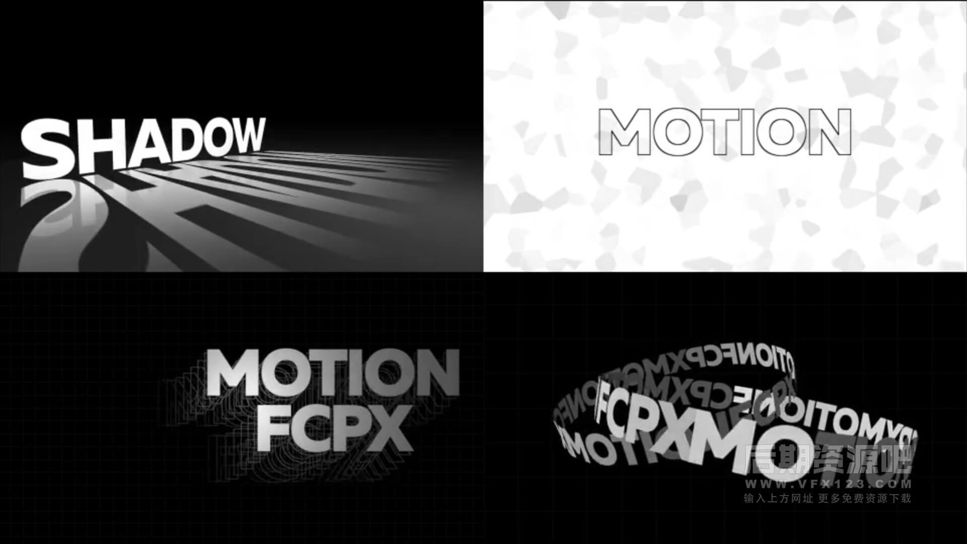 fcpx插件 64组海报标题动画预设 动态排版可改颜色含背景 支持竖屏