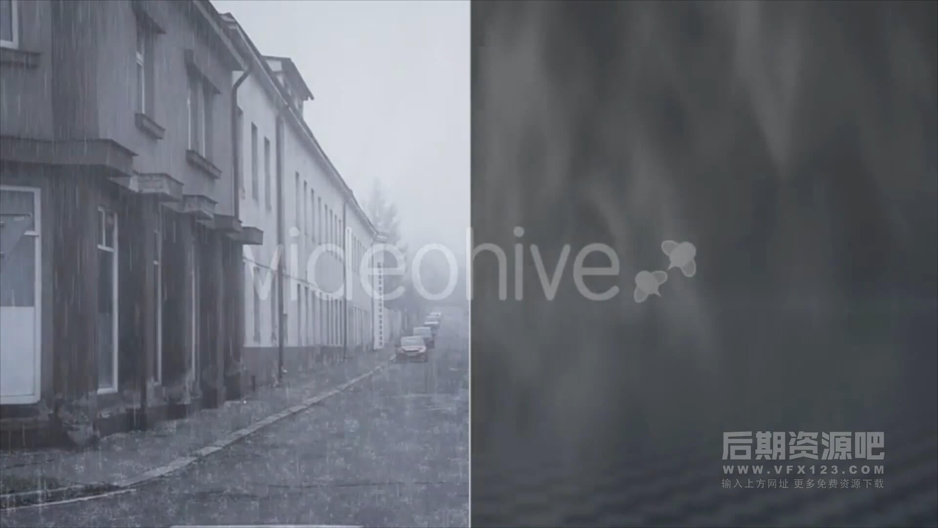 视频素材 20个影片添加下雨效果特效合成素材 Rain pack
