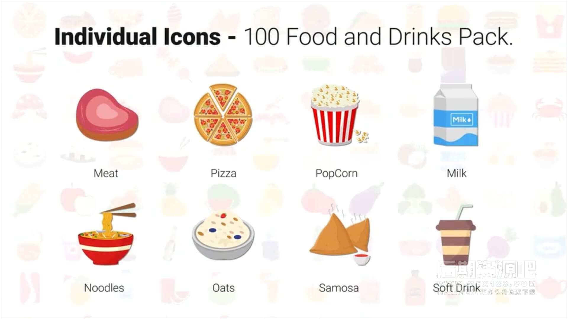 AE模板 100个食物饮料ICON图标动画  Food & Drinks Icons