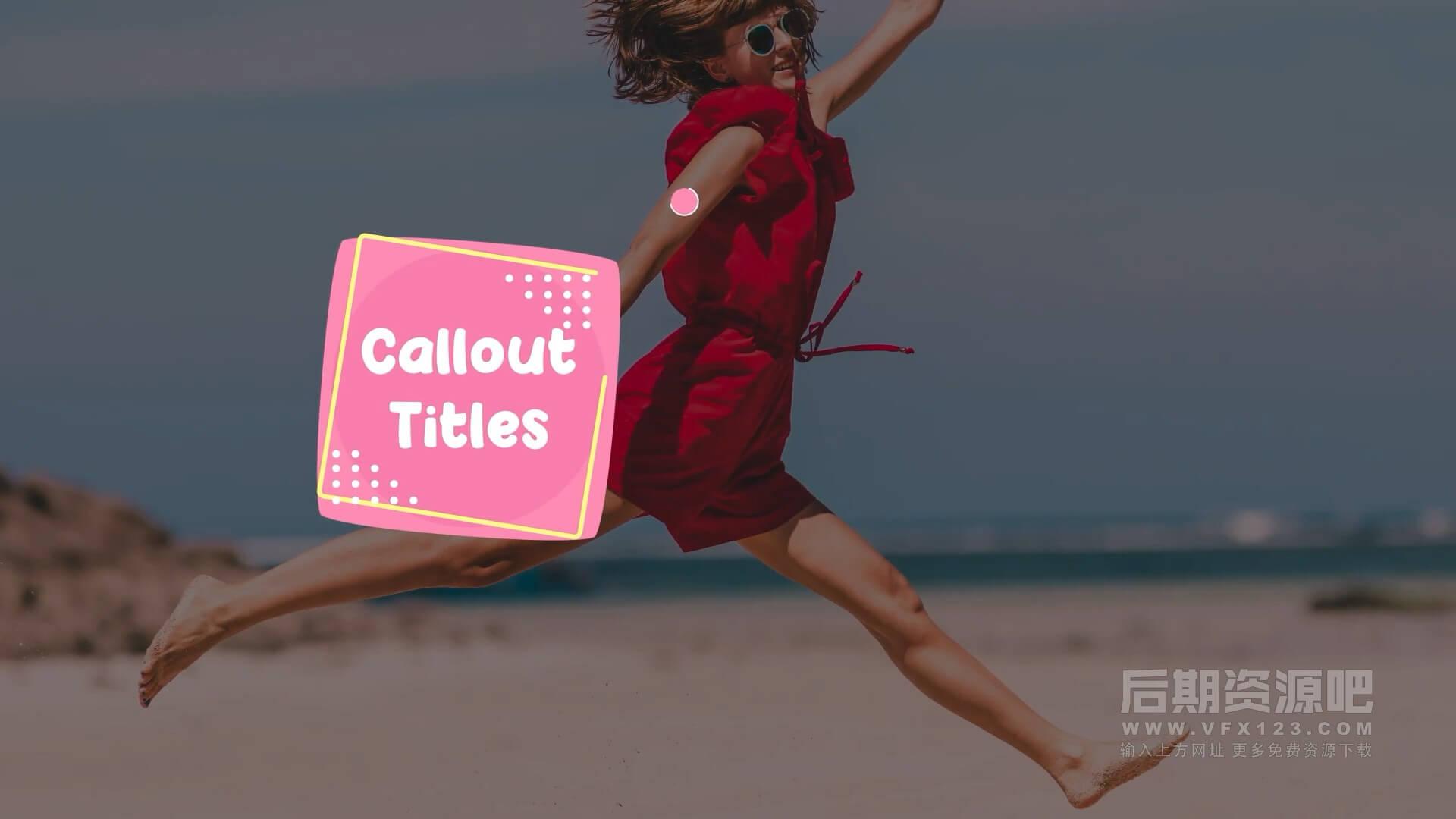 fcpx标题插件 4K卡通标注注释文本框动画 Cartoon Callout Titles