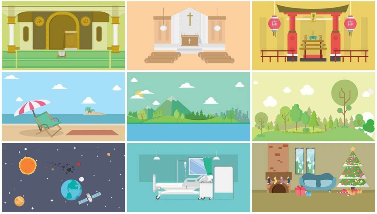 fcpx插件 40个卡通混合场景动画元素包 Mix Background Scenes