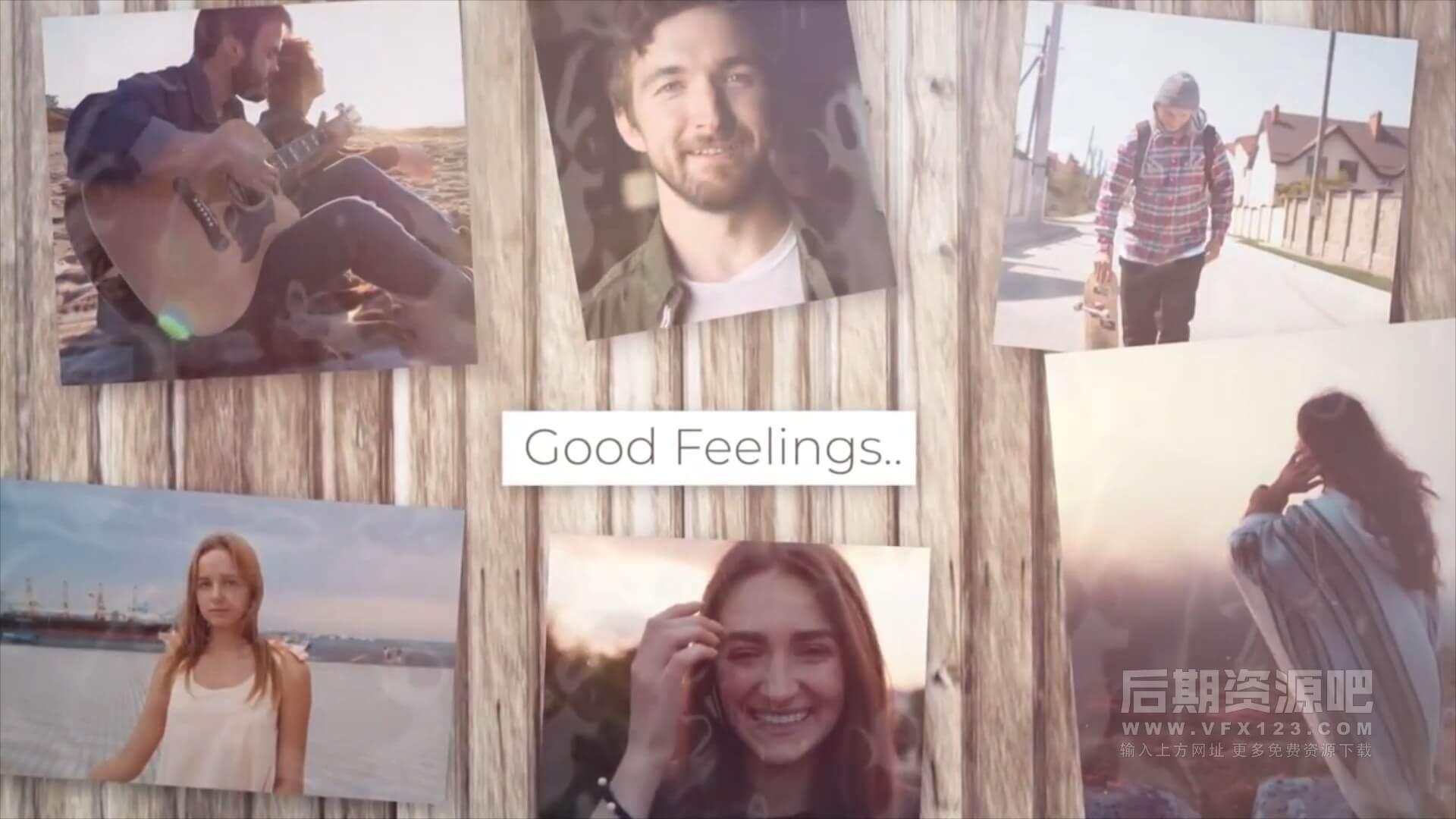 fcpx主题模板 清新优雅照片墙展示片头模板 Good Feelings