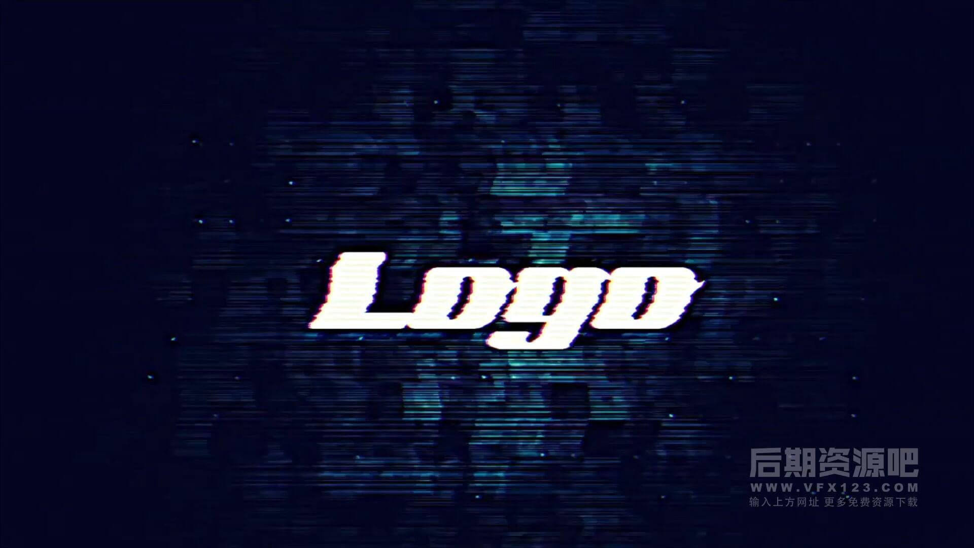 fcpx主题模板 故障干扰特效徽标LOGO展示片头 Glitch Logo