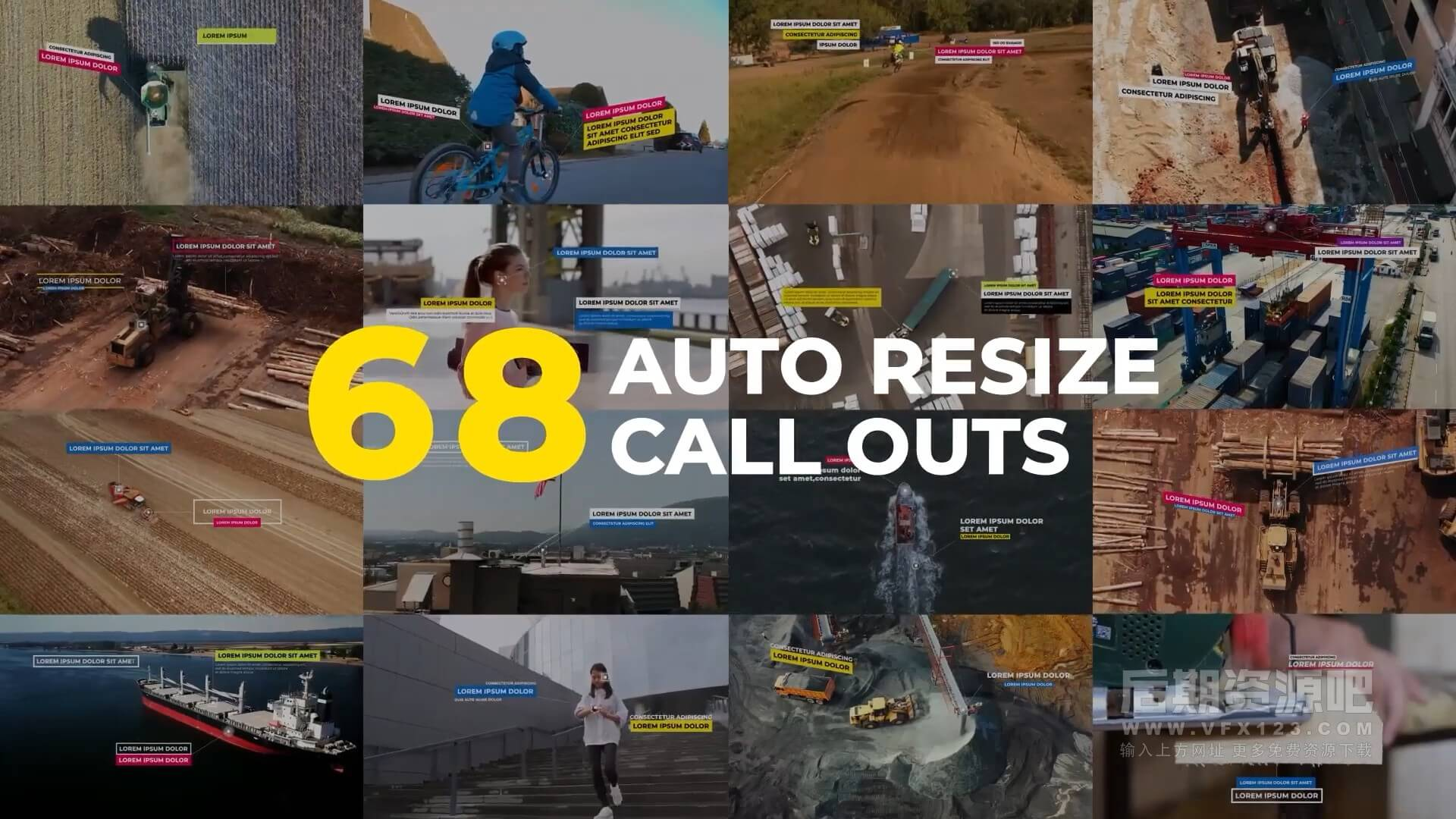 AE模板 线条呼出动画自动调整大小标注 Auto Resizing Call-Outs