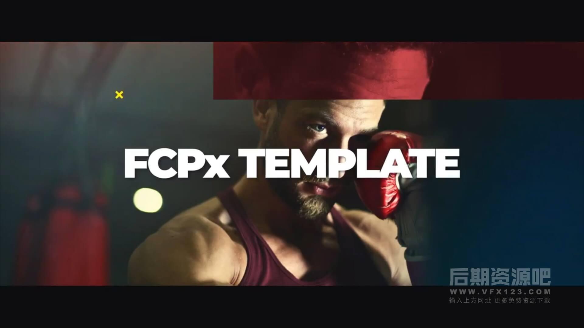fcpx主题模板 故障干扰特效快节奏体育竞技宣传片头 Glitch Sport