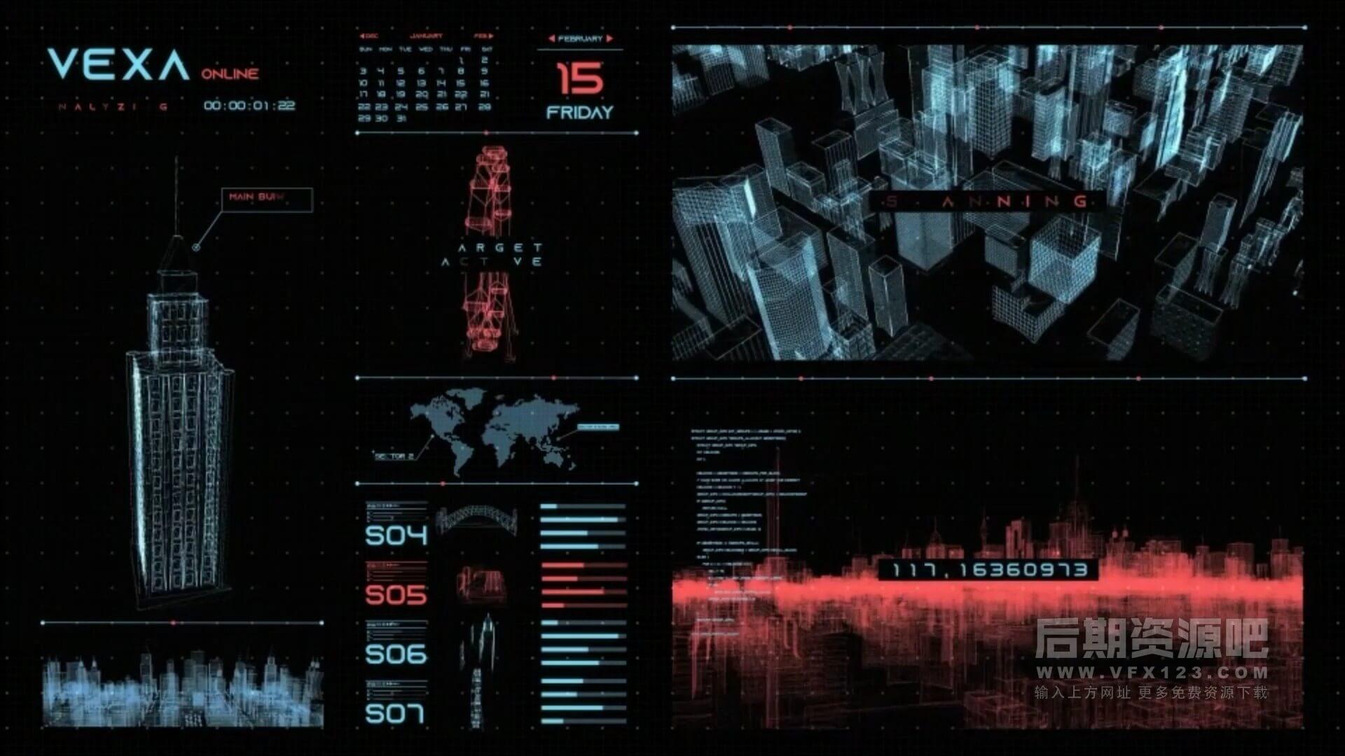 AE模板 430+HUD界面元素16分类含色彩控制 Vexa HUD Infographics V2