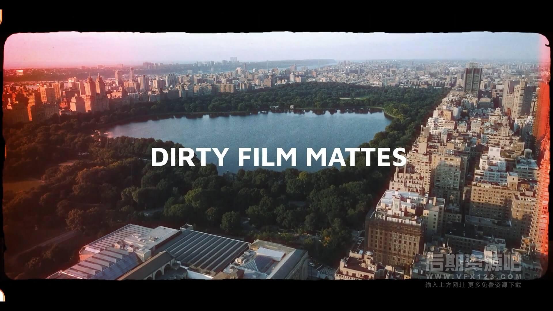 视频素材 4k复古电影灼烧胶片特效支持竖屏 带通道 DIRTY FILM MATTES