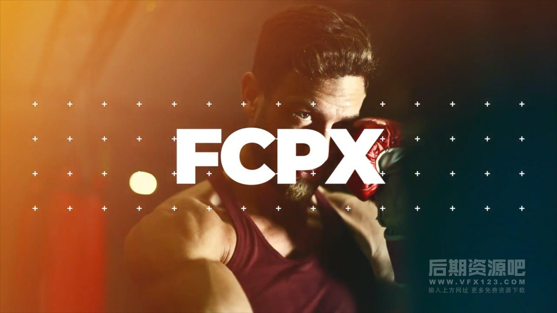 fcpx主题模板 流行动感卡点体育运动宣传片头 Dynamic sport
