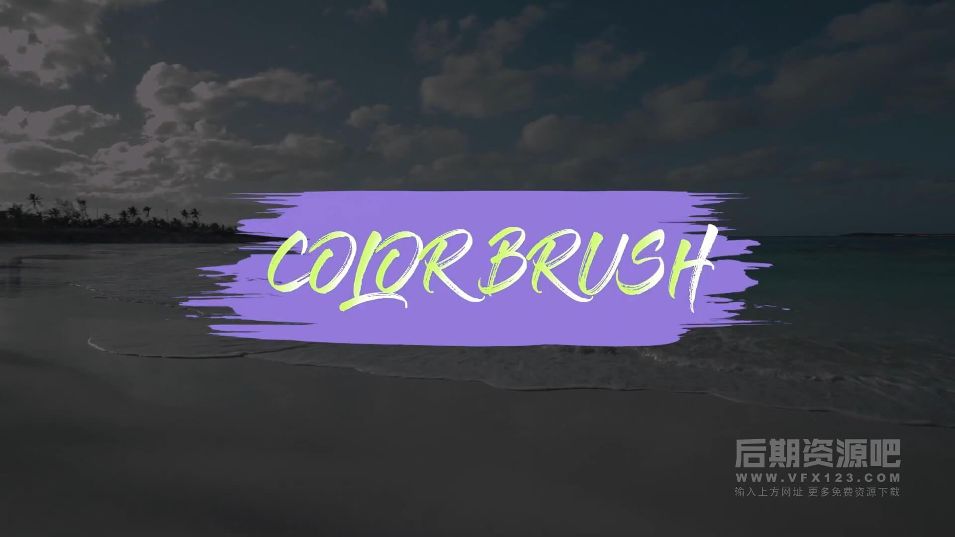 fcpx转场插件 17组手绘彩色笔刷效果过渡转场预设 Color brush transition