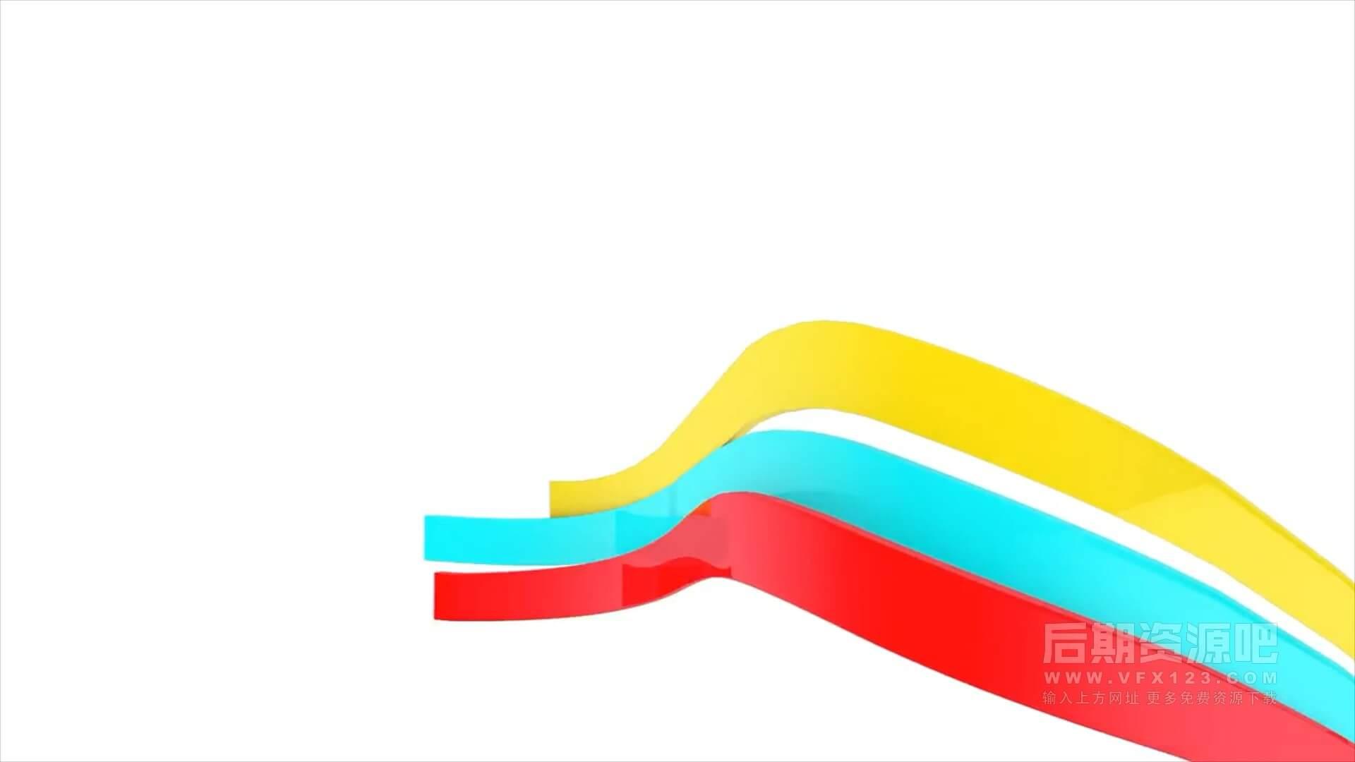 fcpx主题模板 3D简约LOGO徽标演绎片头模板 3D Ribbons Logo