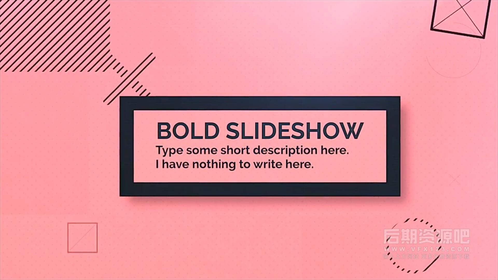 fcpx主题模板 简约现代实用图文展示相册模板 Bold Slideshow