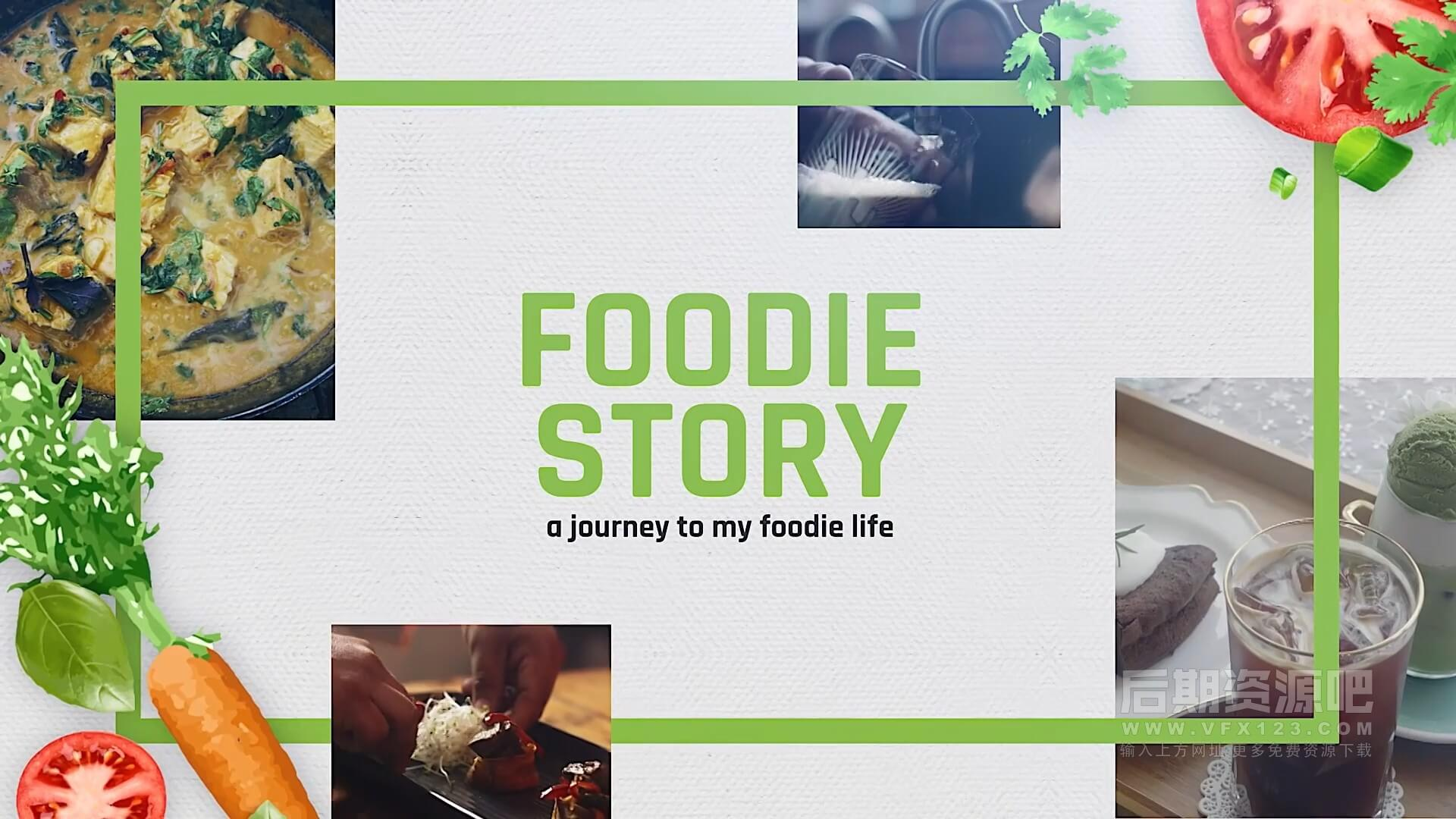 fcpx主题模板 14个美食推广图文视频展示分镜 可自由组合 Foodie Story