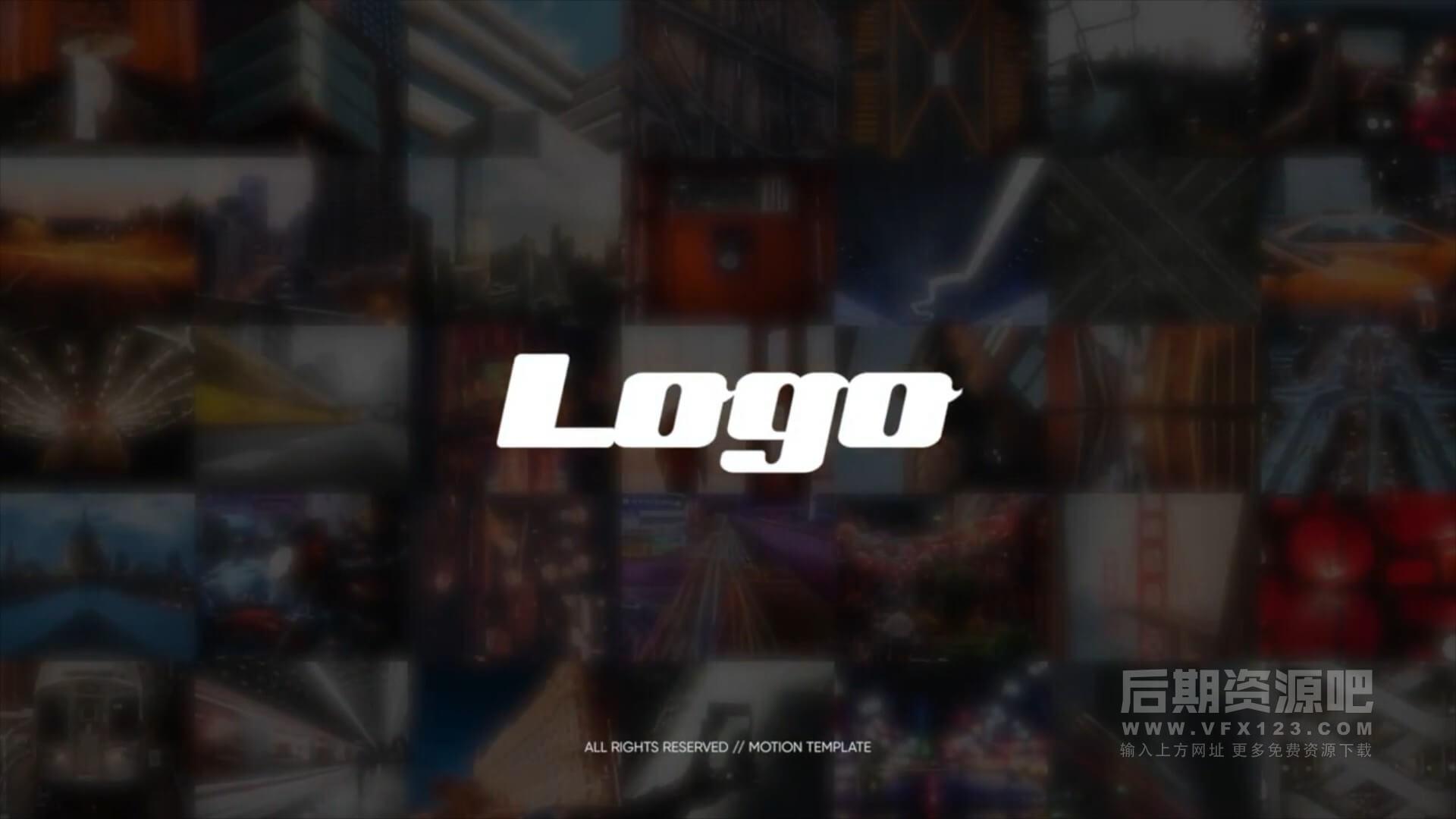 fcpx主题模板 照片墙多图闪现徽标LOGO展示片头 Logo Opener Photo Wall