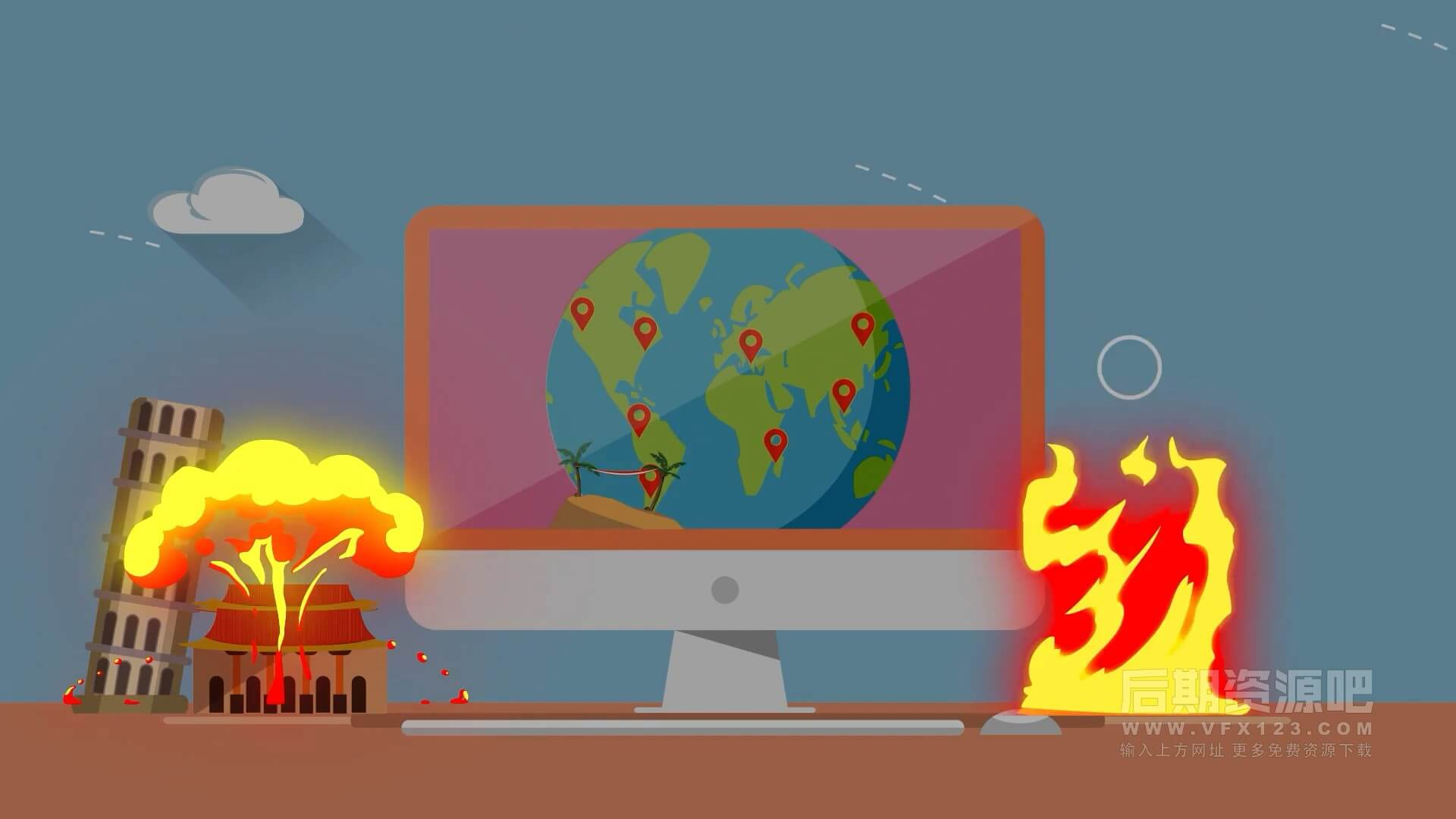 fcpx插件 卡通爆炸烟雾火焰特效动画元素 Explosion Elements