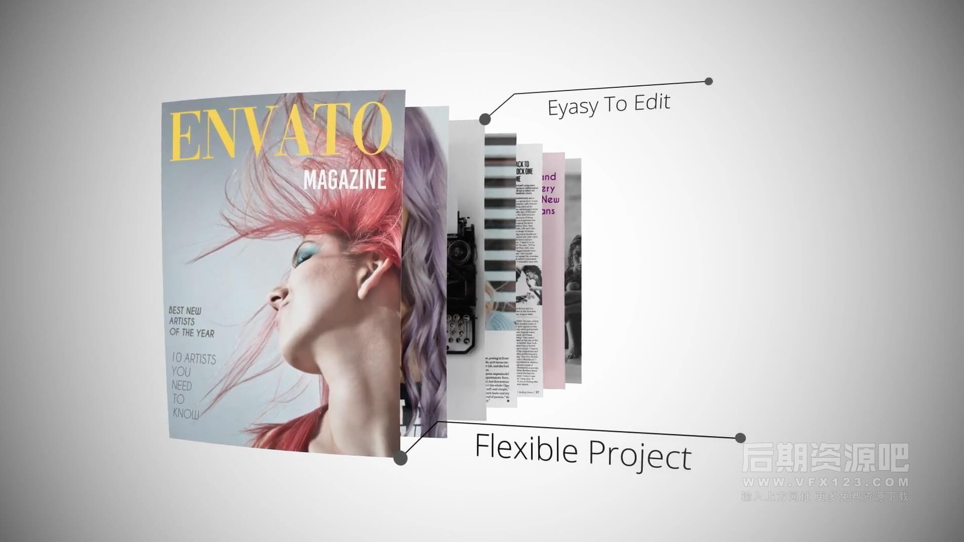 AE模板 杂志动画效果专业版图文展示片头 Magazine Animation Pro V2
