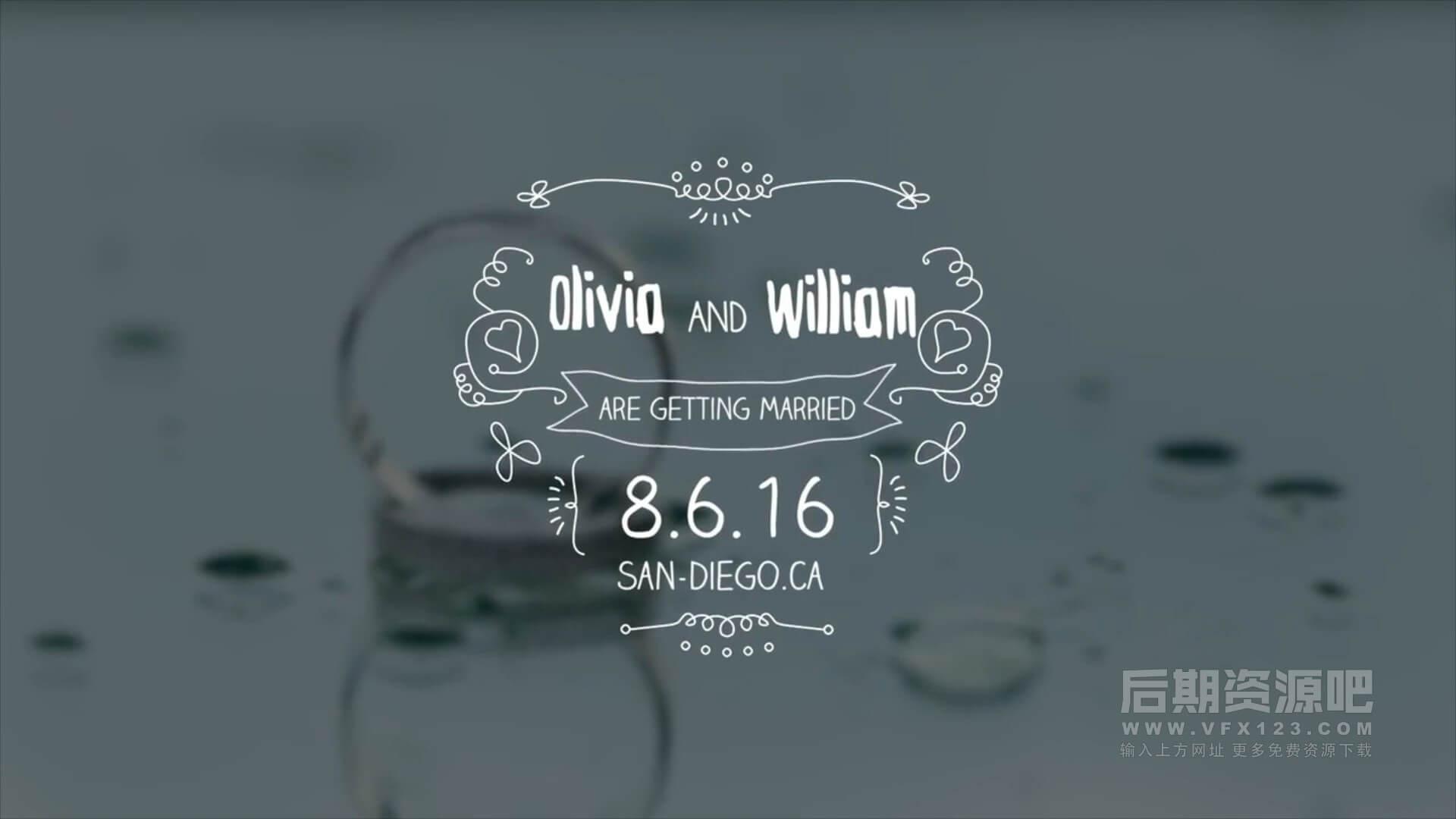 fcpx标题插件 手绘花纹生长动画婚礼日期人名标题 Wedding Hand Drawn Titles