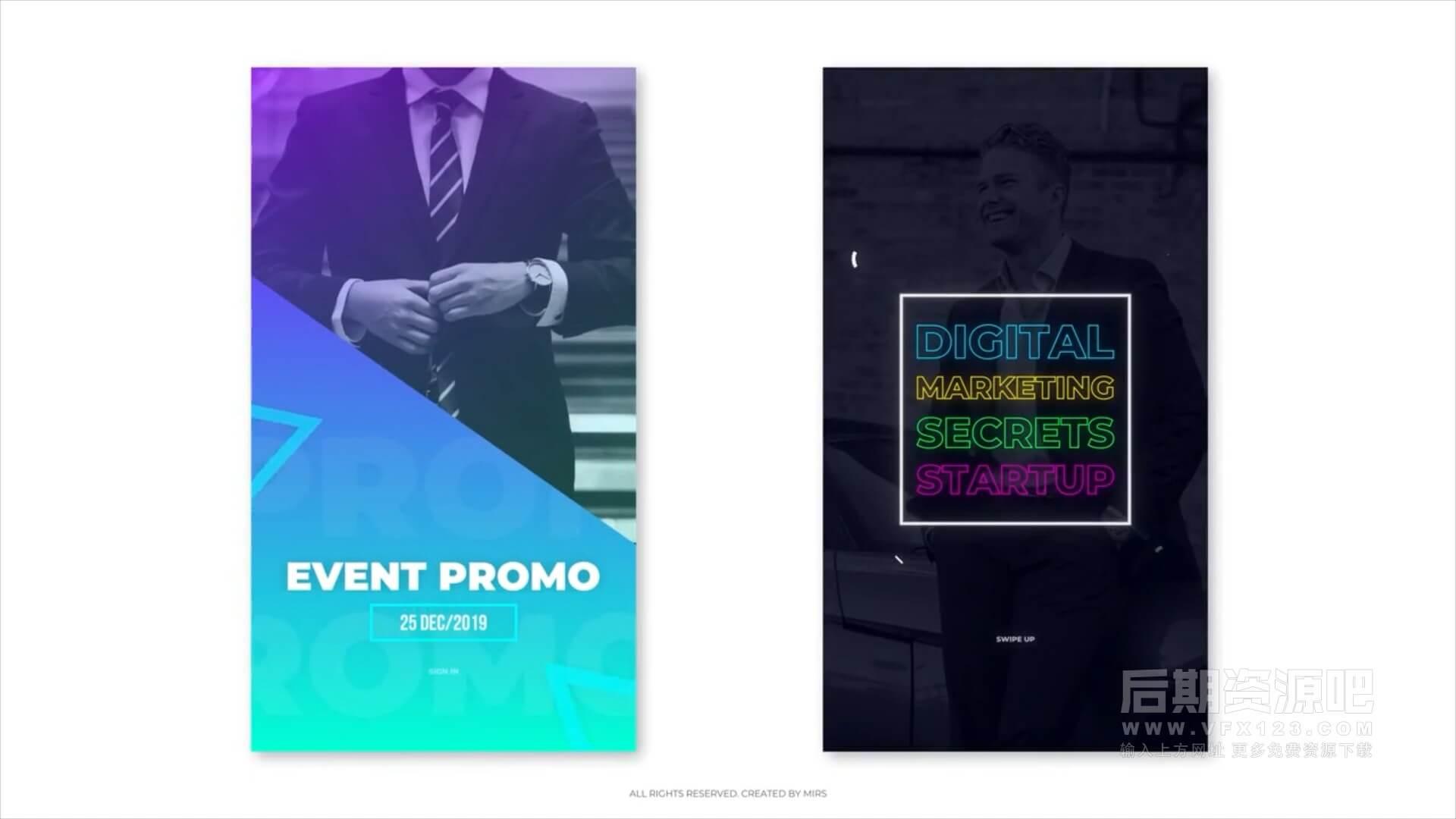 fcpx插件 商务风格简洁干净竖屏模板 Ins Stories Corporate