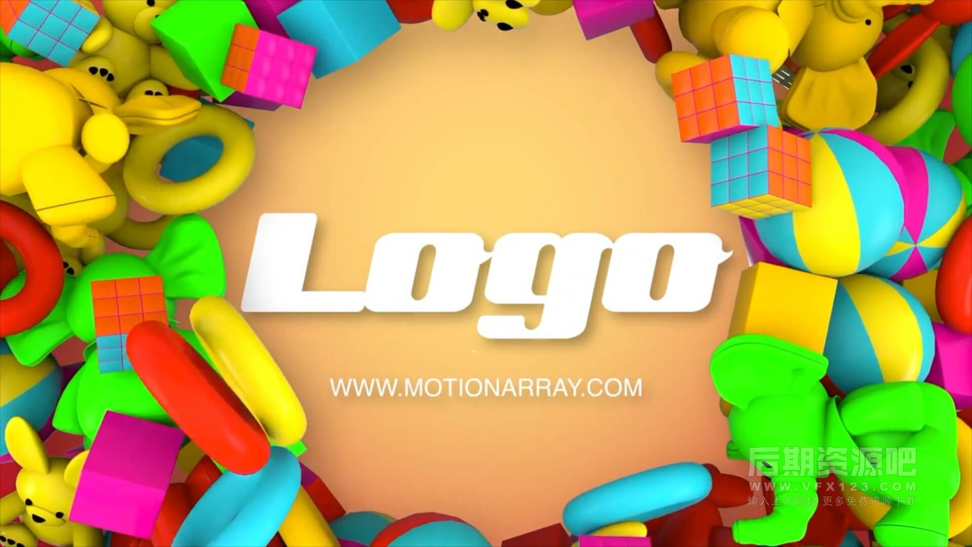 fcpx主题模板 玩具动画幼儿园开学季片头 Kids Toys Logo