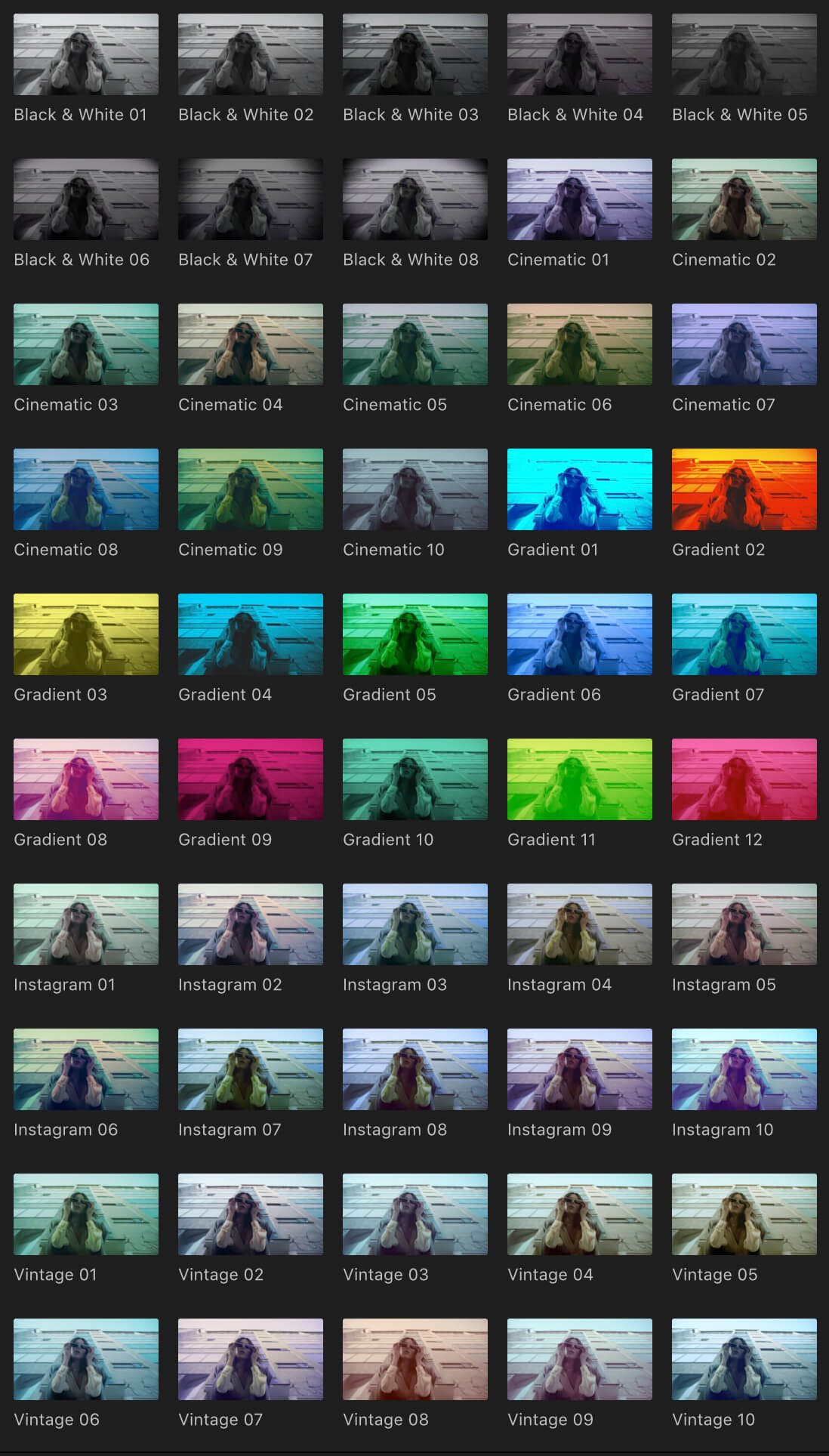 fcpx插件 50组精选颜色分级调色预设 Color Grading