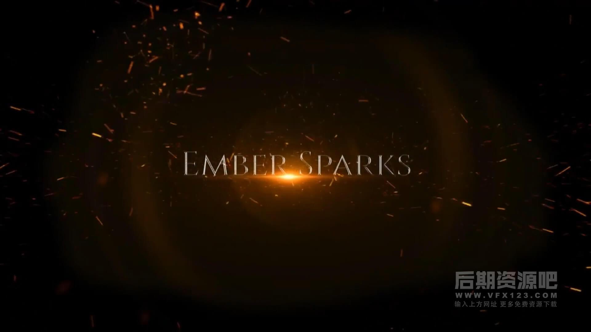 fcpx插件 史诗大气金色粒子震撼标题模板 Ember Sparks Logo Reveal