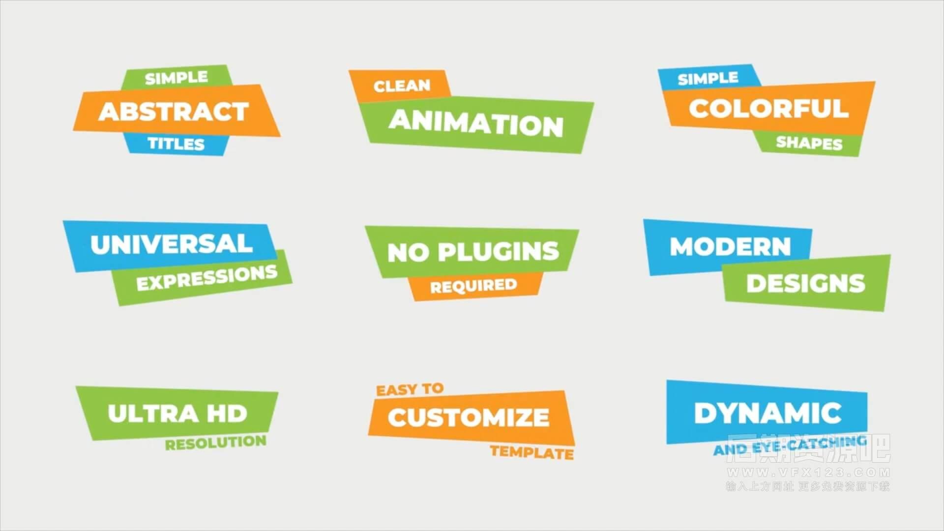 fcpx插件 9组有趣活泼卡通彩色标题模板 Simple Fun Abstract Titles
