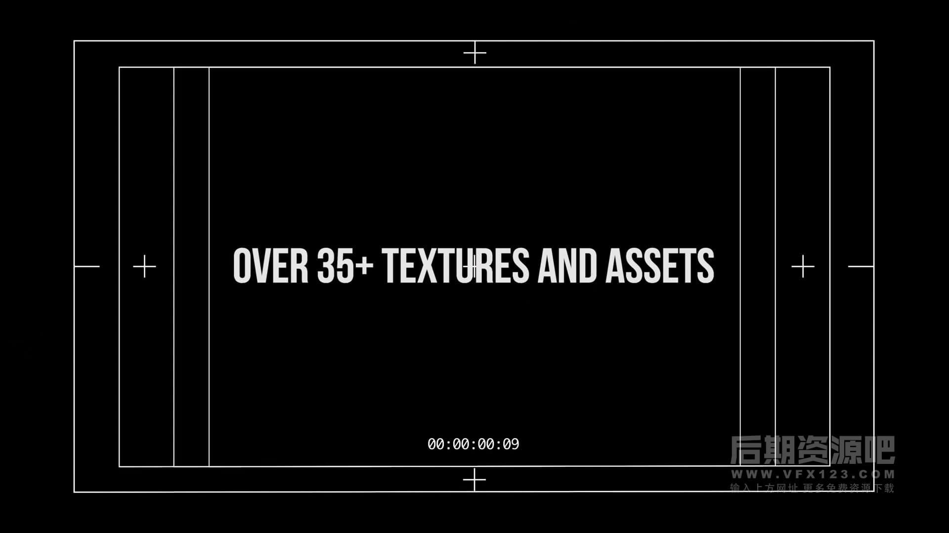 视频素材 相机取景框网格安全框模拟胶片划痕等特效素材 TXTR PACK